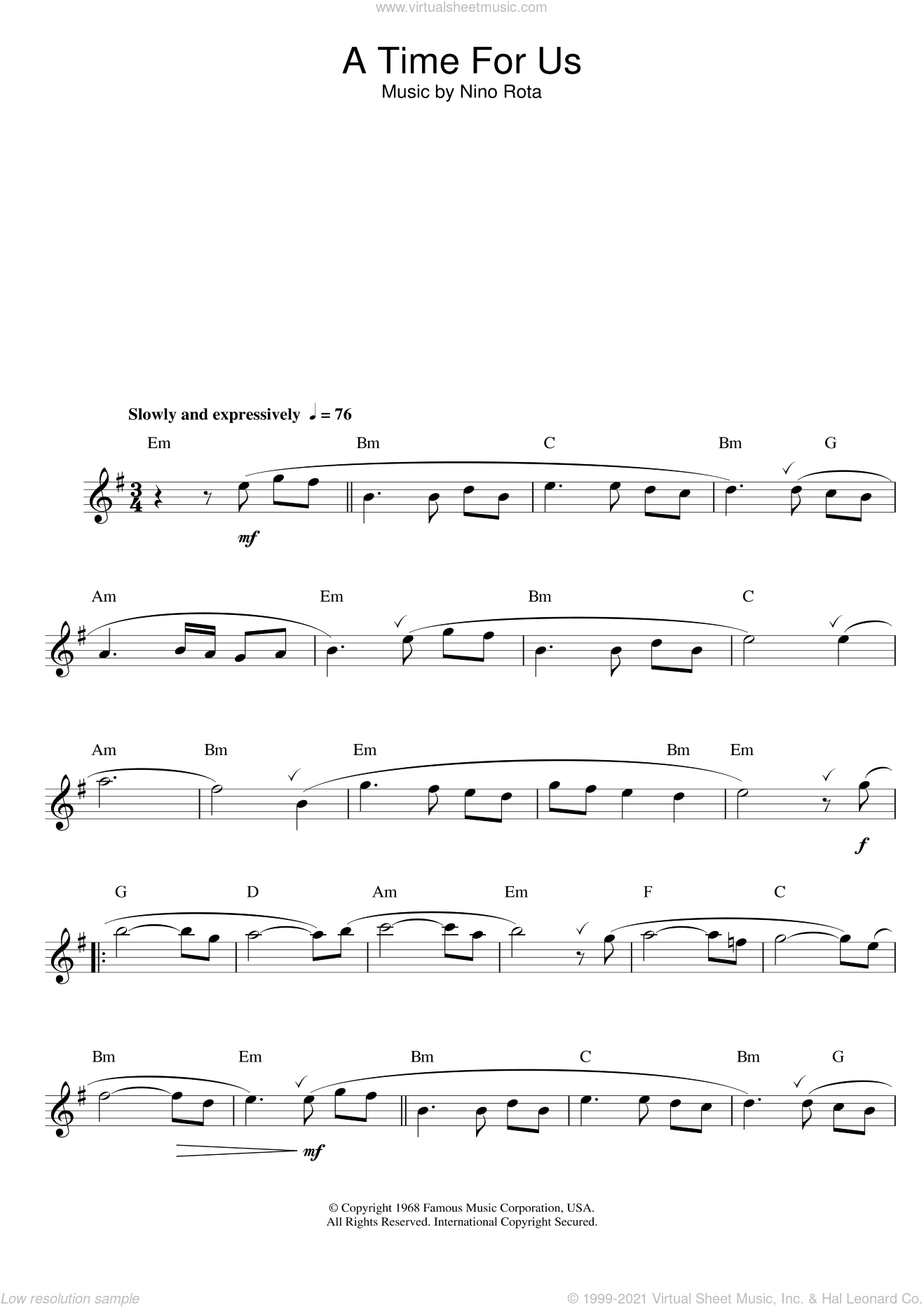Romeo And Juliet (Love Theme) sheet music for flute solo by Nino Rota, intermediate skill level