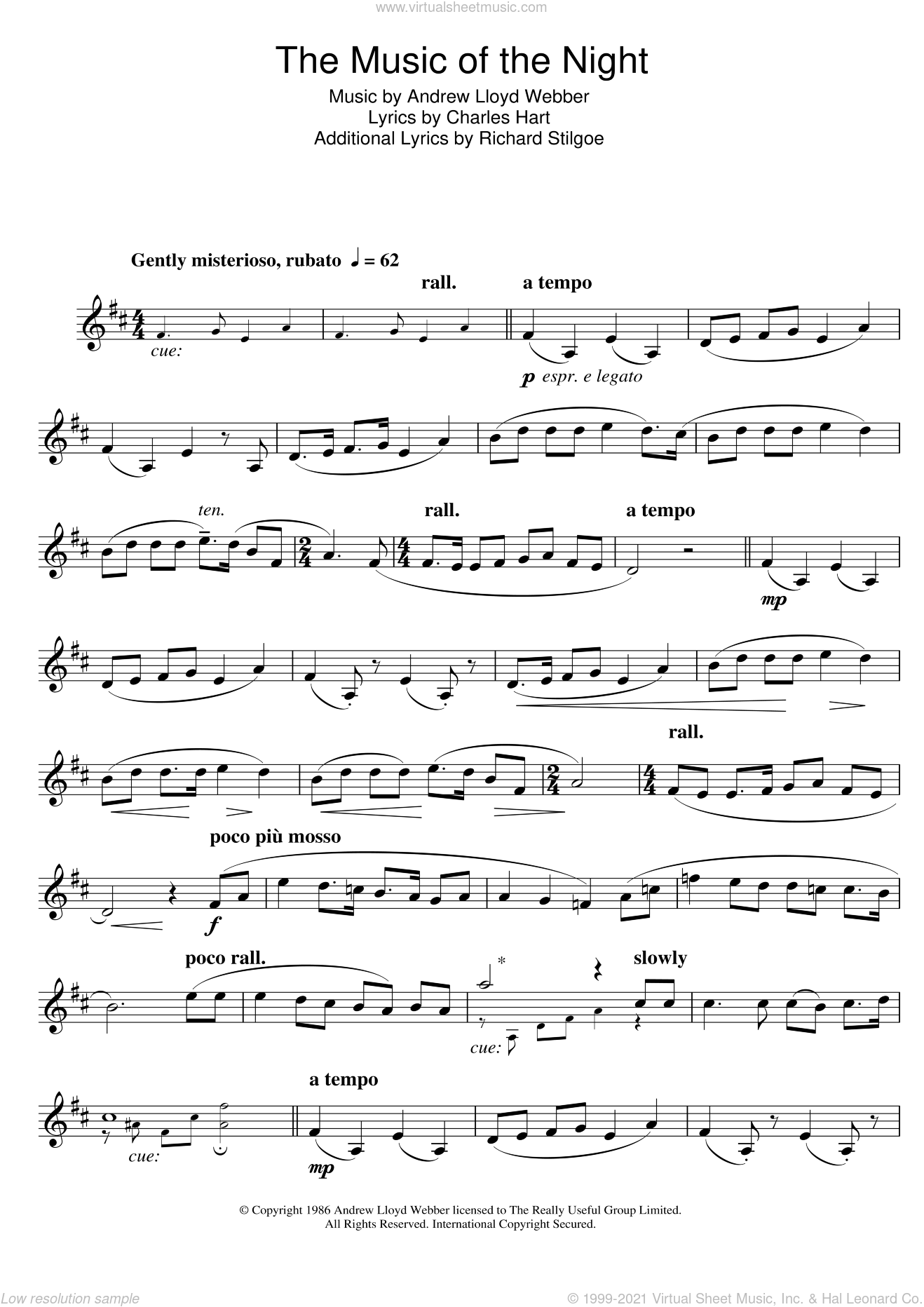 The Music Of The Night (from The Phantom Of The Opera) sheet music for clarinet solo by Andrew Lloyd Webber, Charles Hart and Richard Stilgoe, intermediate skill level