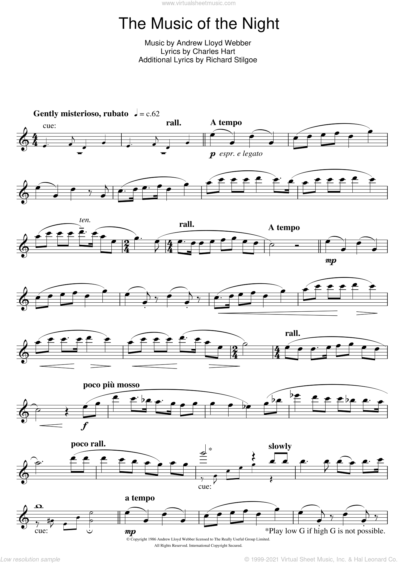 The Music Of The Night (from The Phantom Of The Opera) sheet music for flute solo by Andrew Lloyd Webber, Charles Hart and Richard Stilgoe, intermediate skill level