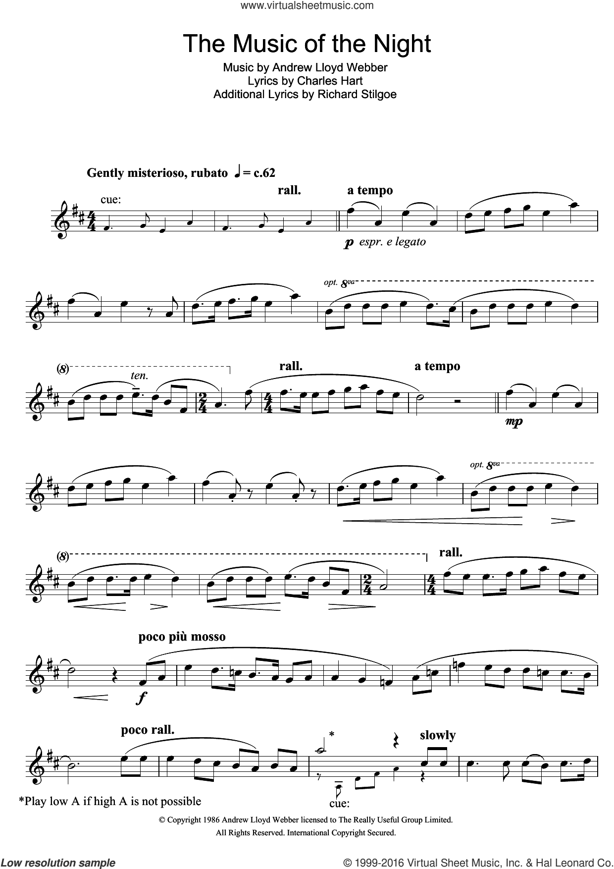 The Music Of The Night (from The Phantom Of The Opera) sheet music for tenor saxophone solo by Andrew Lloyd Webber, Charles Hart and Richard Stilgoe, intermediate skill level