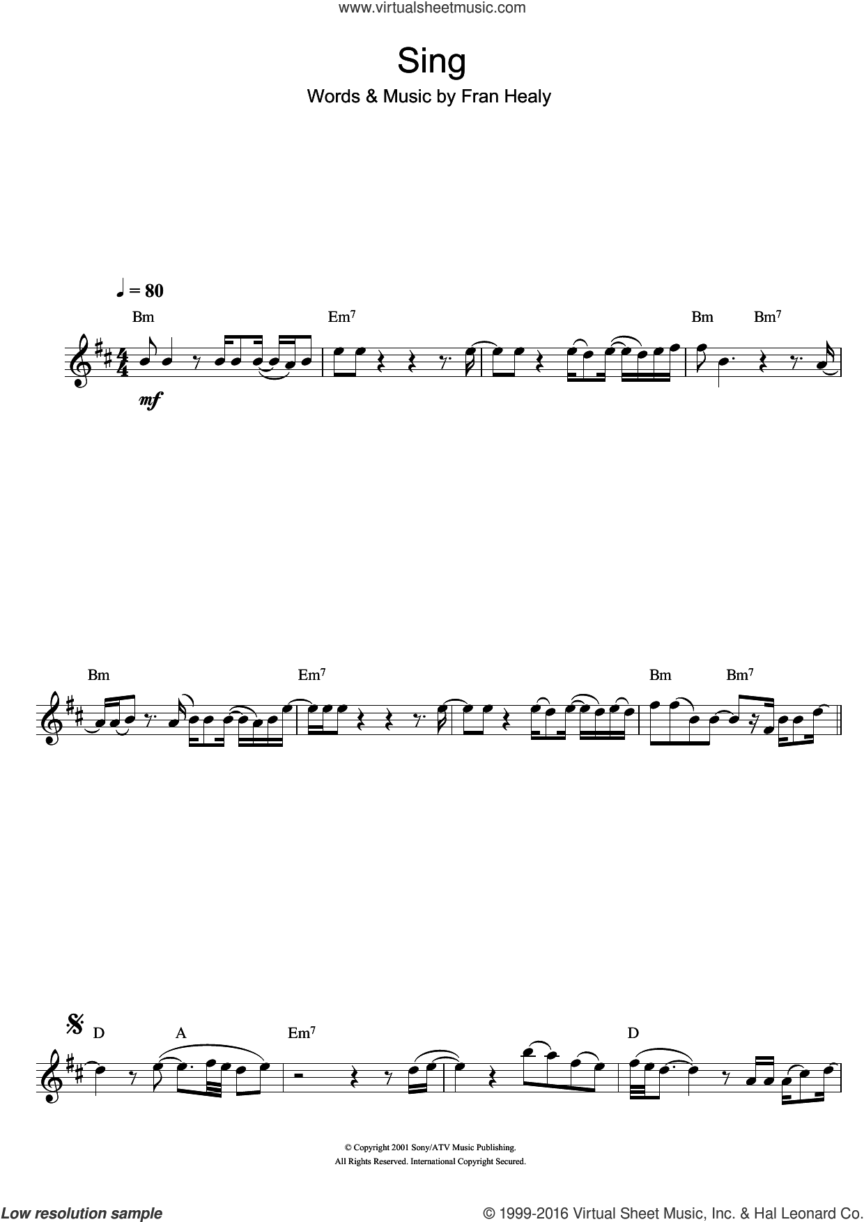 Sing sheet music for flute solo by Fran Healy and Merle Travis. Score Image Preview.