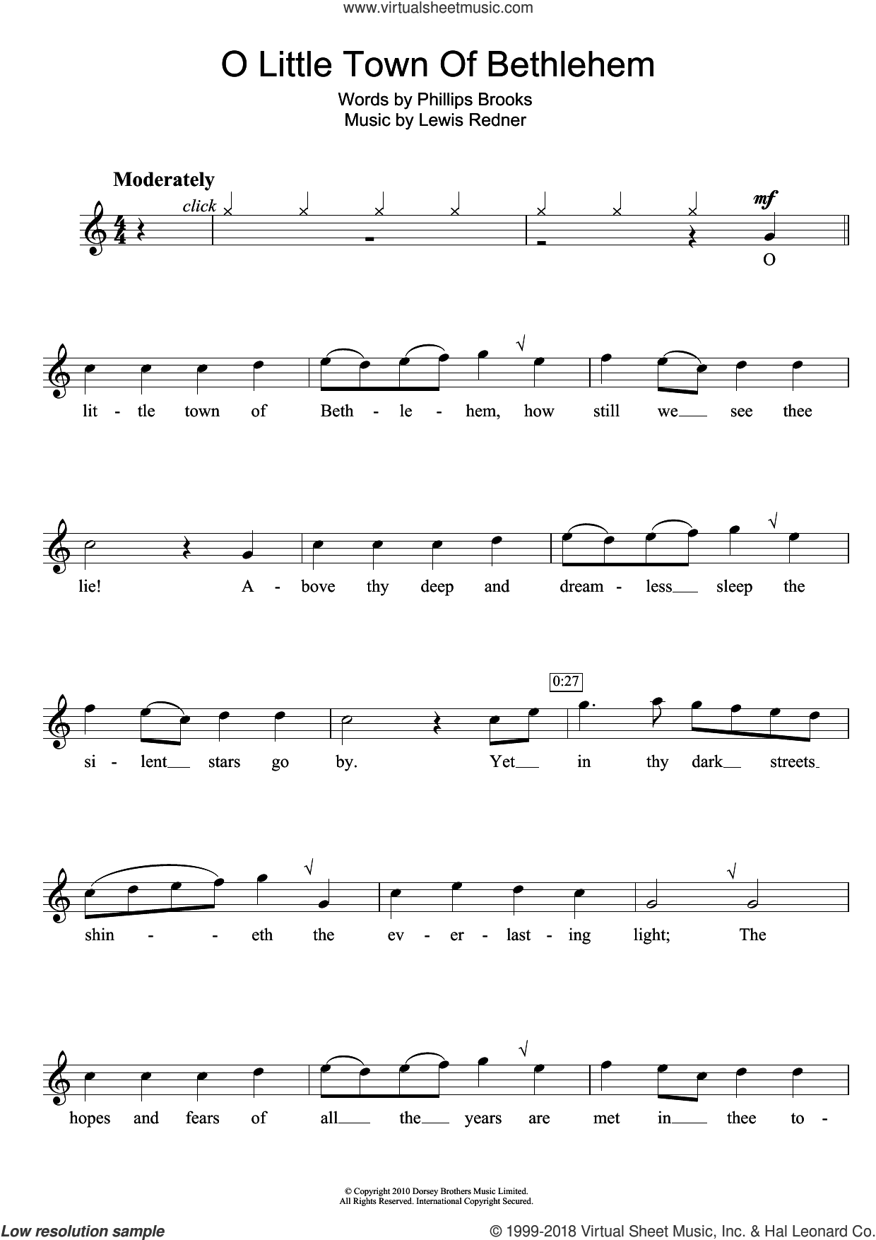 O Little Town Of Bethlehem sheet music for flute solo by Lewis Redner, Miscellaneous and Phillips Brooks, intermediate skill level