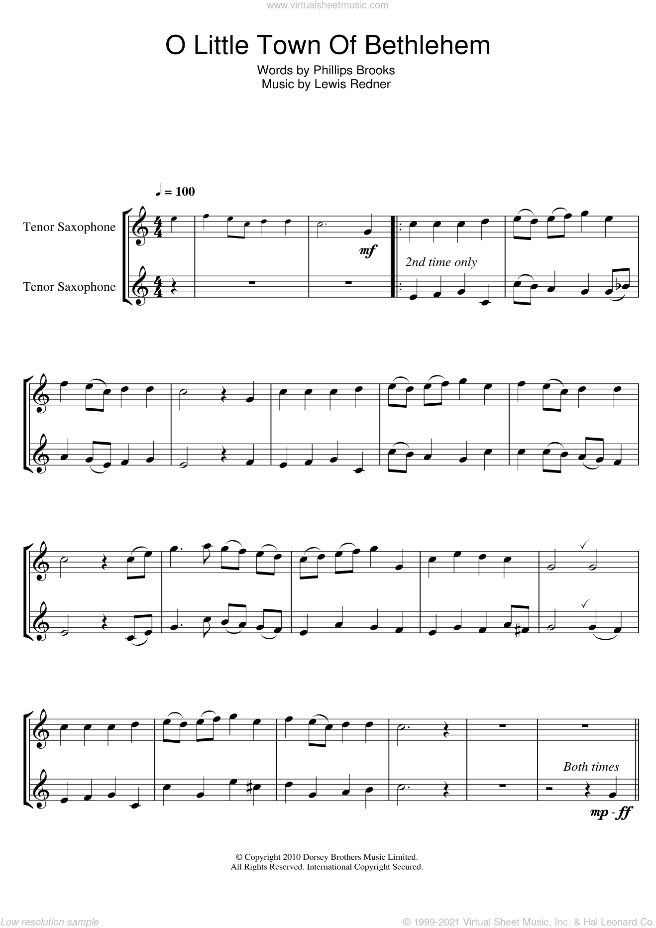 O Little Town Of Bethlehem sheet music for tenor saxophone solo by Lewis Redner, Miscellaneous and Phillips Brooks, intermediate. Score Image Preview.
