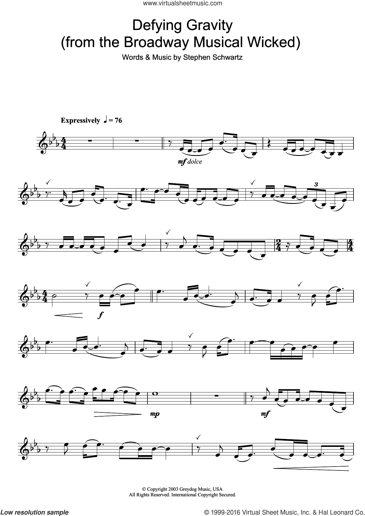 Defying Gravity (from Wicked) sheet music for trumpet solo by Glee Cast and Stephen Schwartz, intermediate skill level