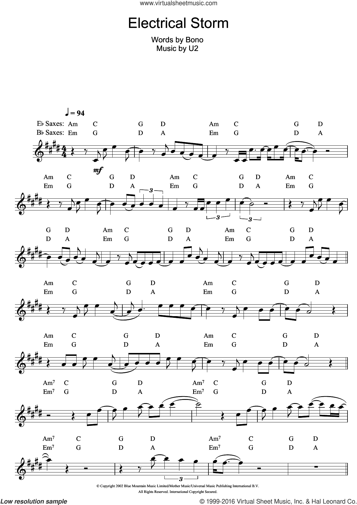 Electrical Storm sheet music for saxophone solo by U2 and Bono, intermediate saxophone. Score Image Preview.