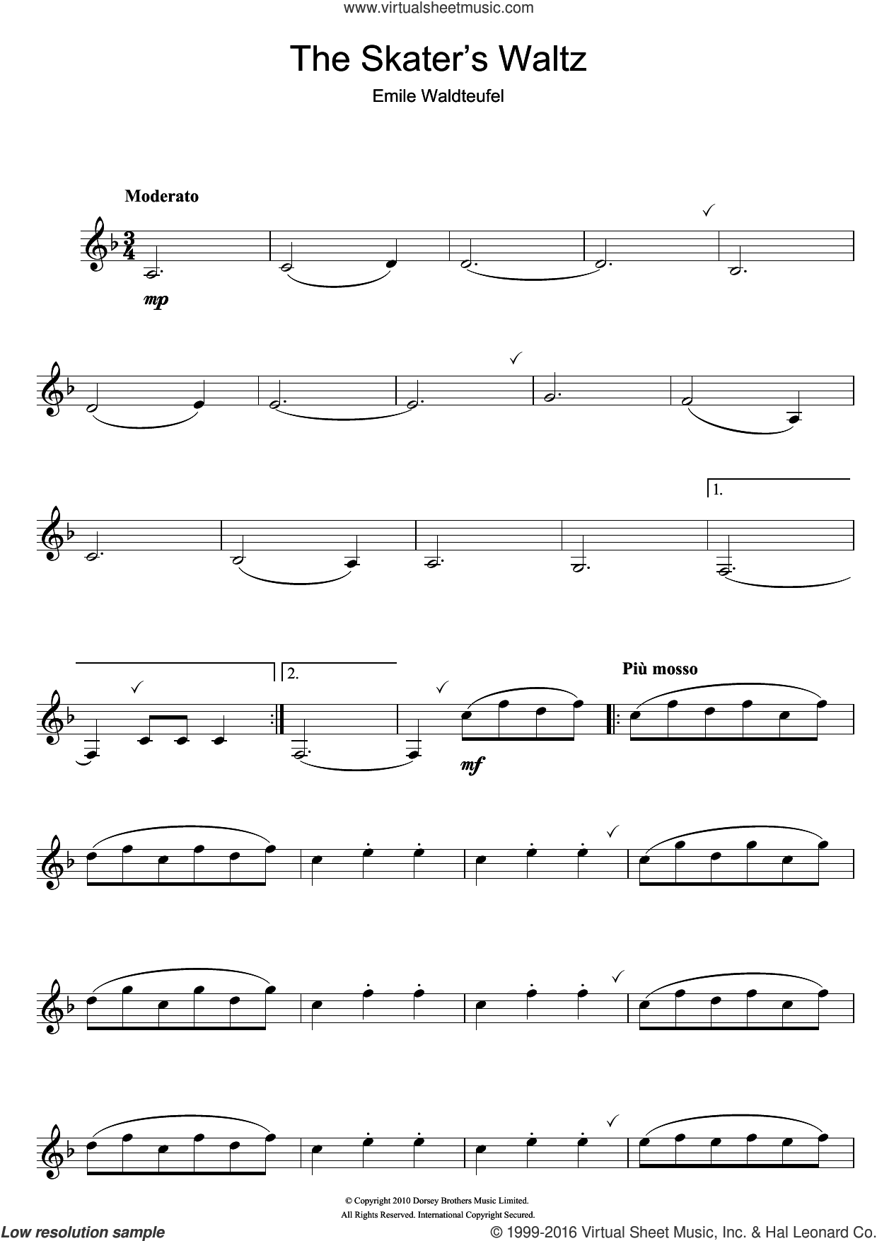 The Skater's Waltz sheet music for clarinet solo by Emile Waldteufel. Score Image Preview.