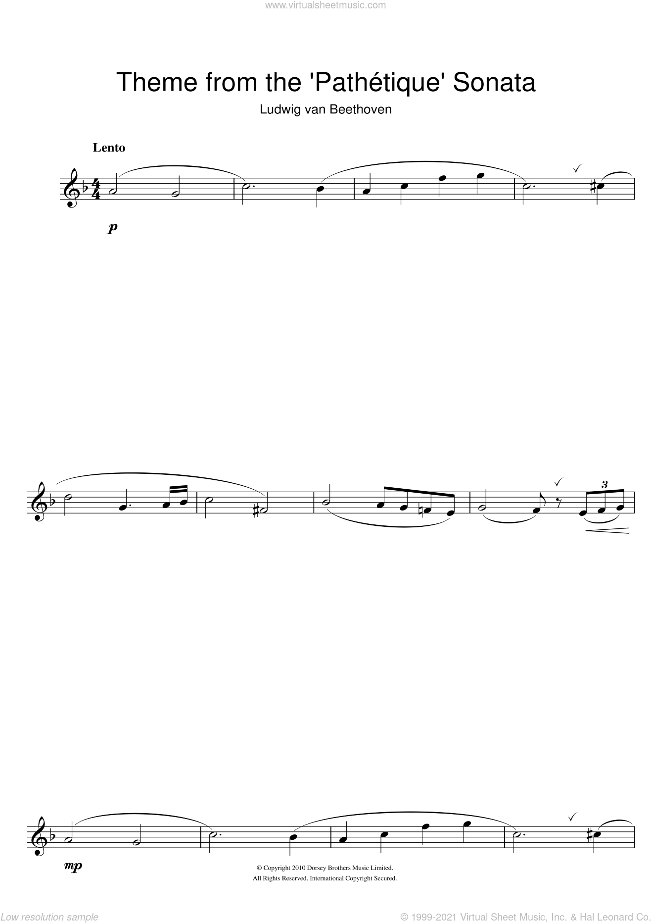 Theme from Pathetique Sonata sheet music for flute solo by Ludwig van Beethoven, classical score, intermediate skill level