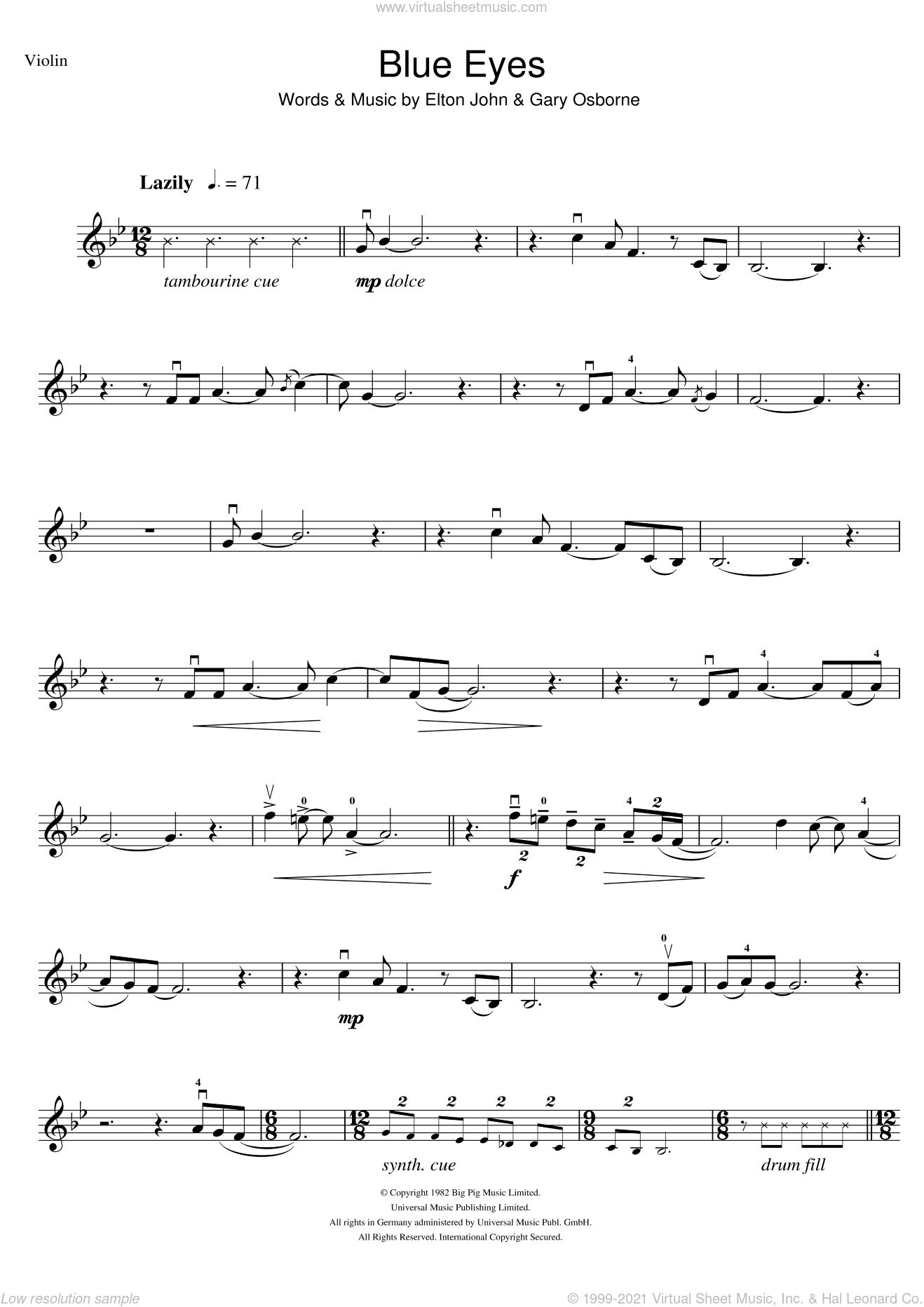 Blue Eyes sheet music for violin solo by Elton John and Gary Osborne, intermediate skill level