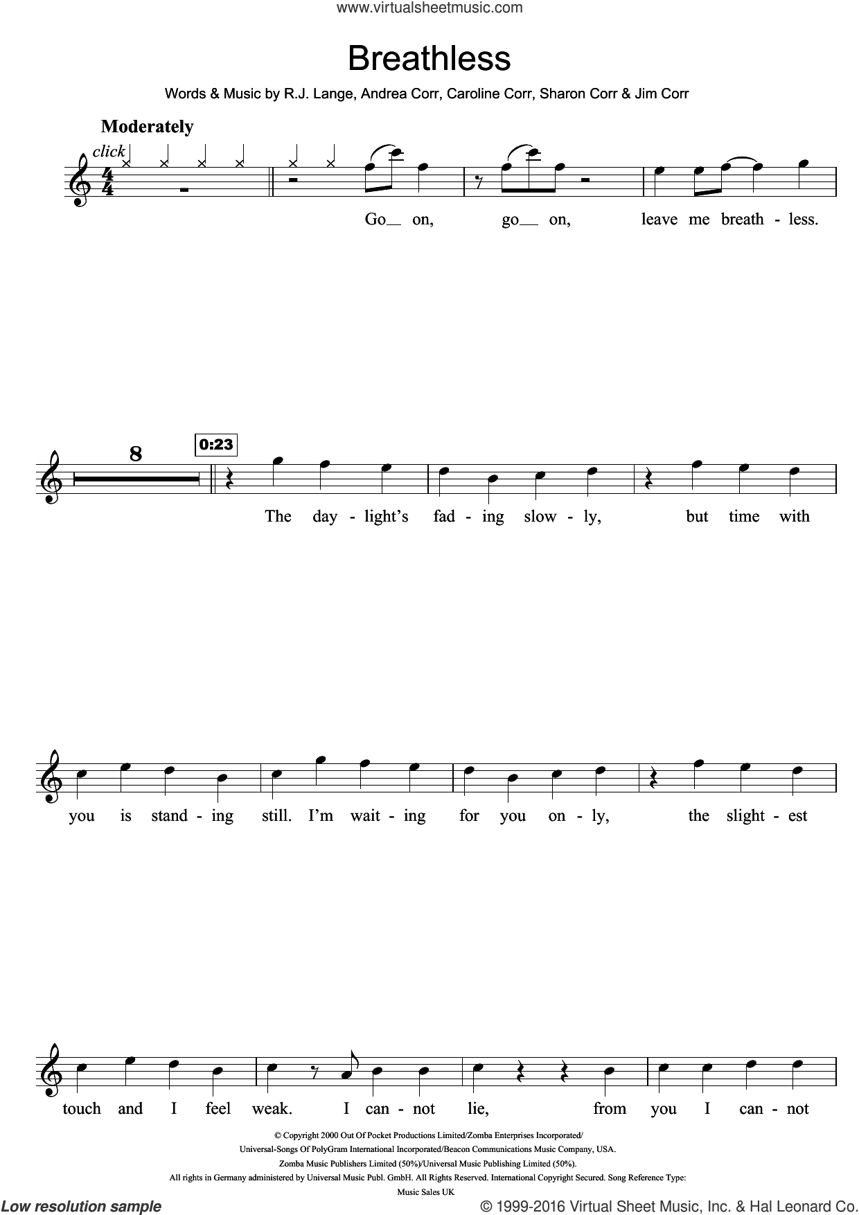 Breathless sheet music for flute solo by Sharon Corr, The Corrs, Andrea Corr and Robert John Lange. Score Image Preview.