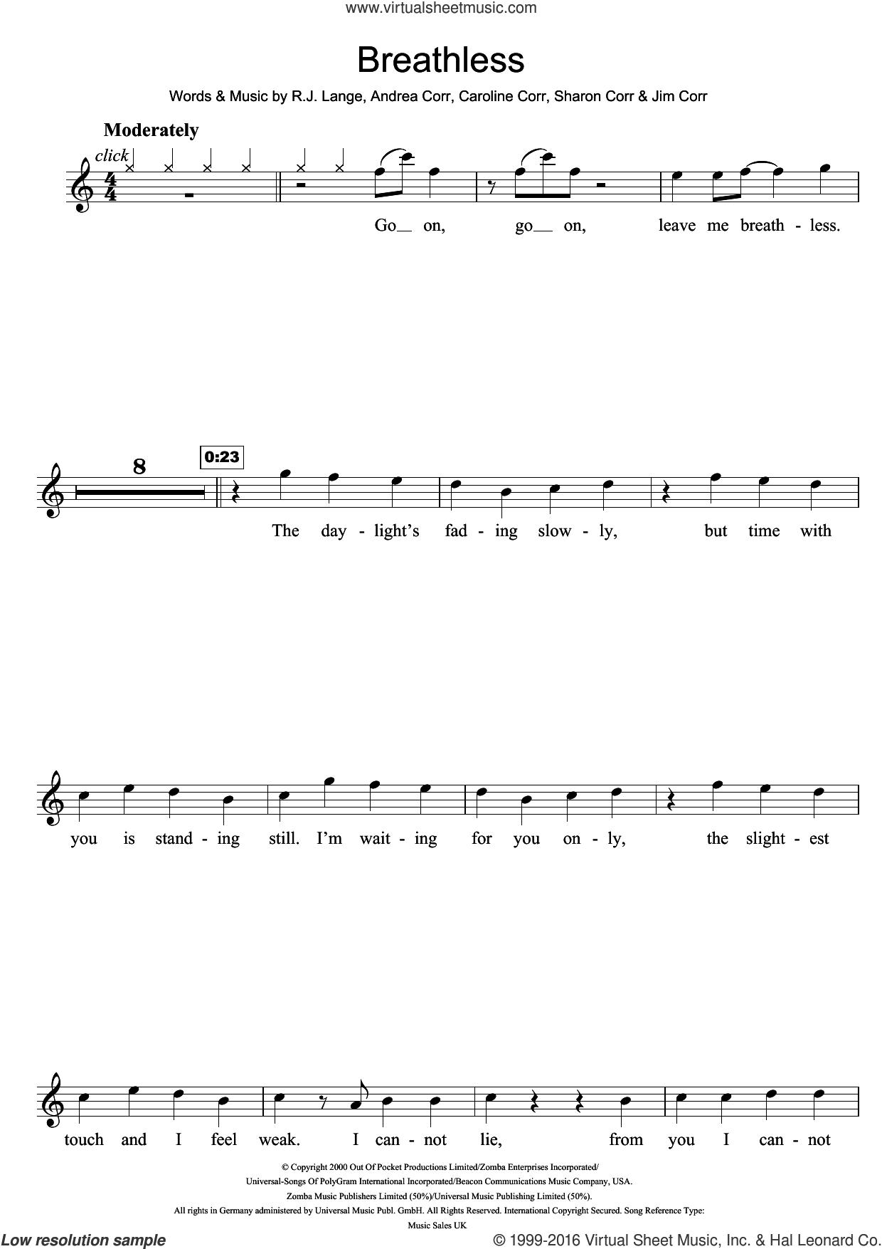 Breathless sheet music for flute solo by The Corrs, Andrea Corr, Caroline Corr, Jim Corr, Robert John Lange and Sharon Corr, intermediate skill level
