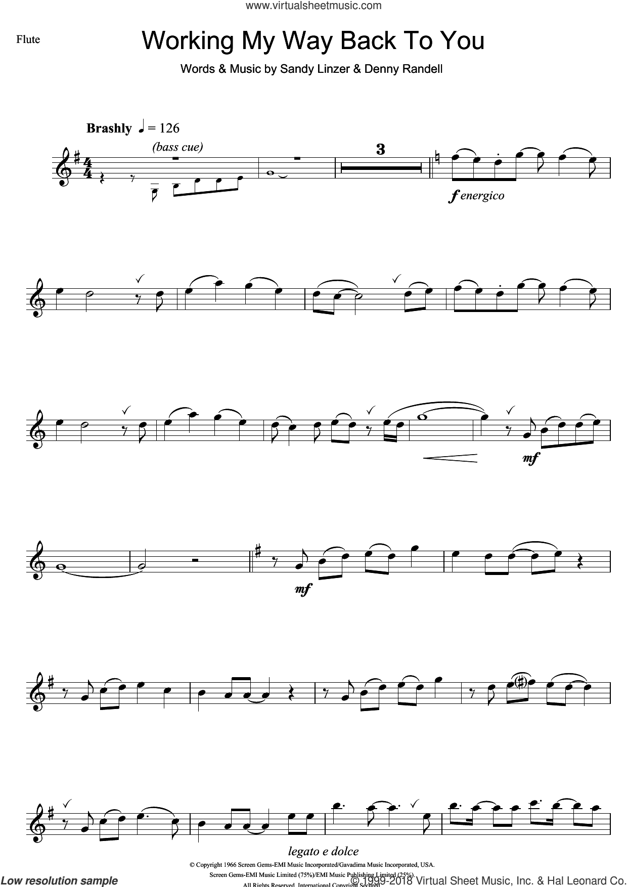 Working My Way Back To You sheet music for flute solo by The Four Seasons, Denny Randell and Sandy Linzer, intermediate skill level
