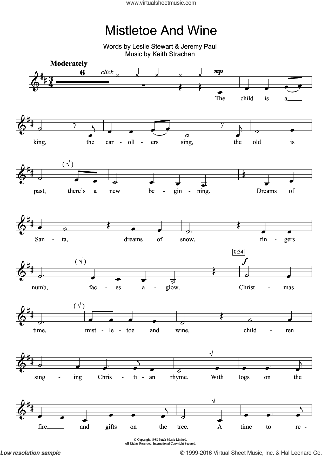 Mistletoe And Wine sheet music for clarinet solo by Cliff Richard, Jeremy Paul, Keith Strachan and Leslie Stewart, intermediate. Score Image Preview.