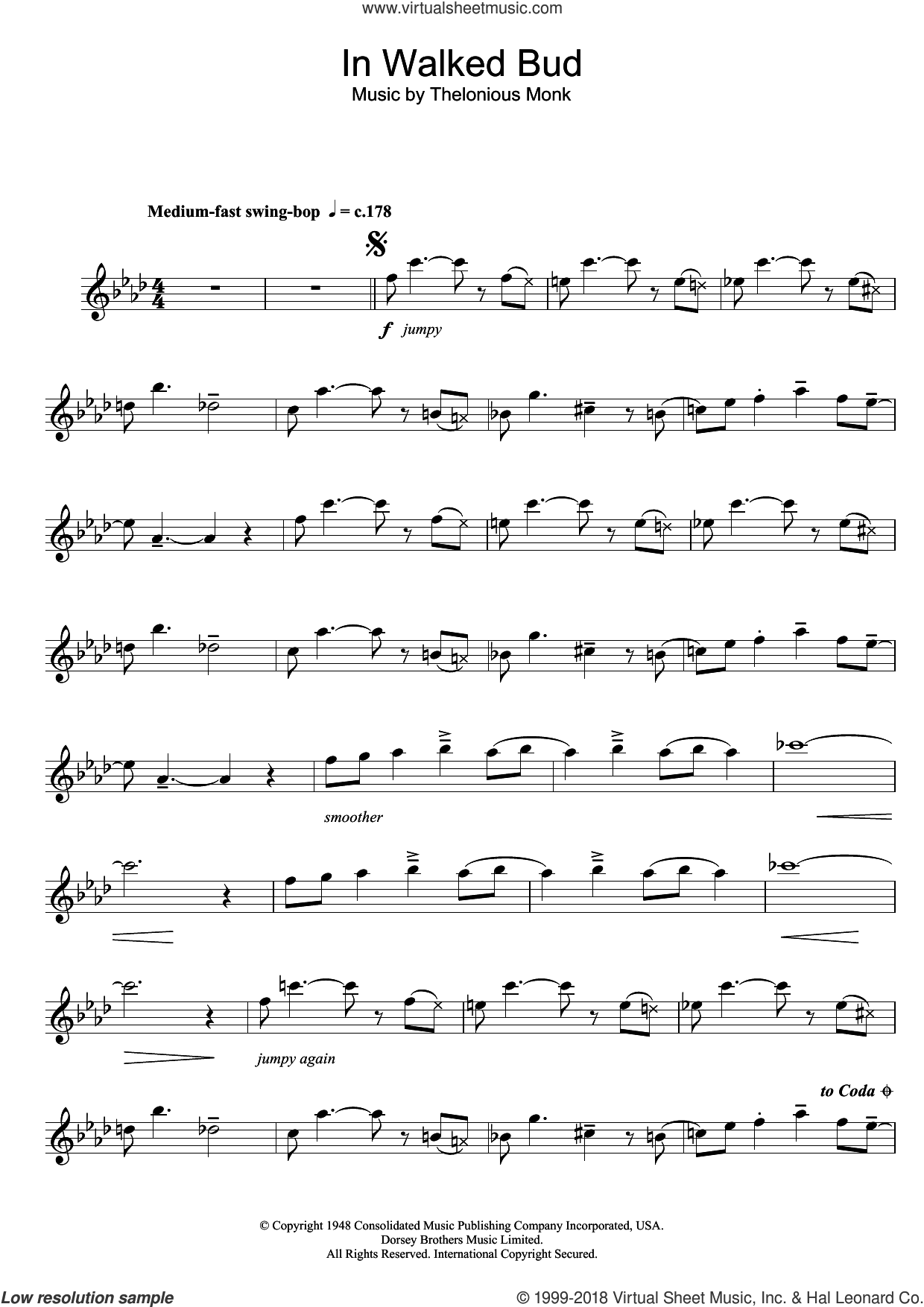 In Walked Bud sheet music for flute solo by Thelonious Monk, intermediate. Score Image Preview.