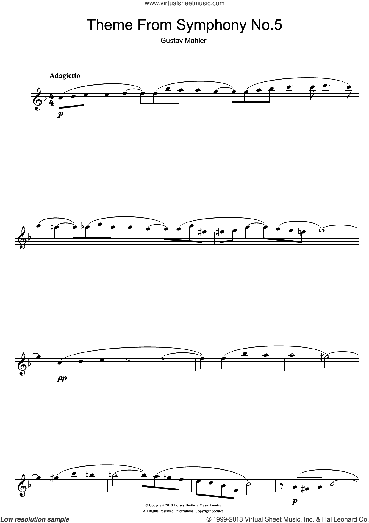 Adagietto from Symphony No.5 (4th Movement) sheet music for flute solo by Gustav Mahler, classical score, intermediate skill level