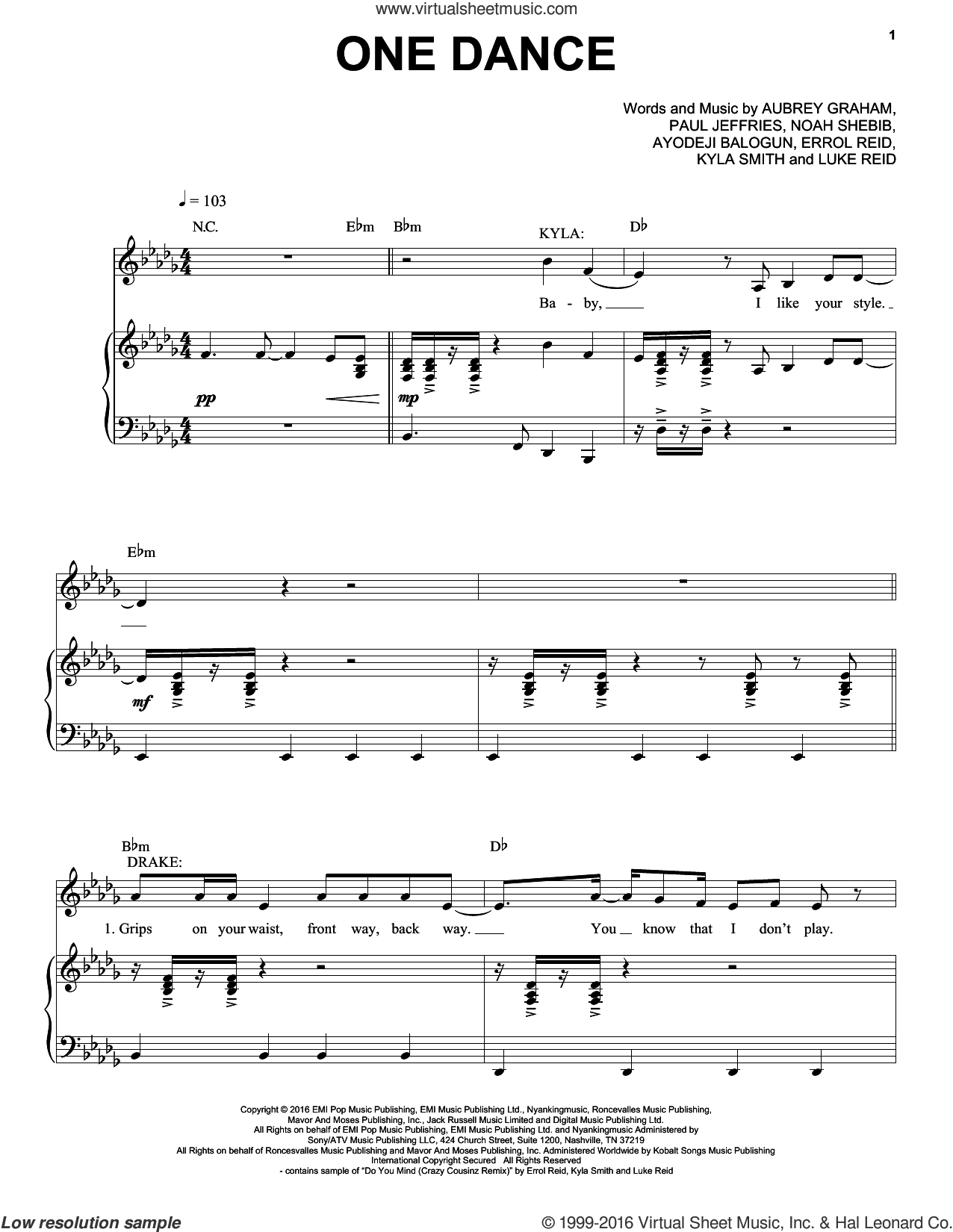 One Dance sheet music for voice, piano or guitar by Drake. Score Image Preview.
