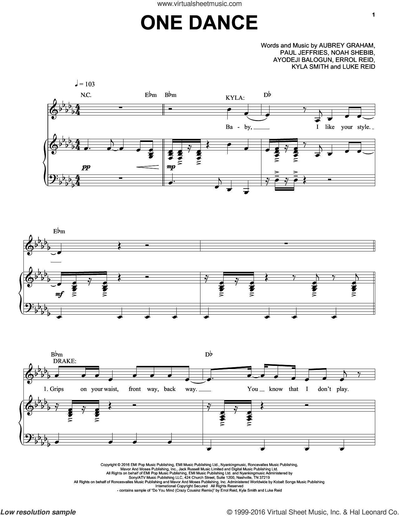 One Dance sheet music for voice, piano or guitar by Drake, Aubrey Graham, Ayodeji Balogun, Errol Reid, Kyla Smith, Luke Reid, Noah Shebib and Paul Jeffries, intermediate skill level