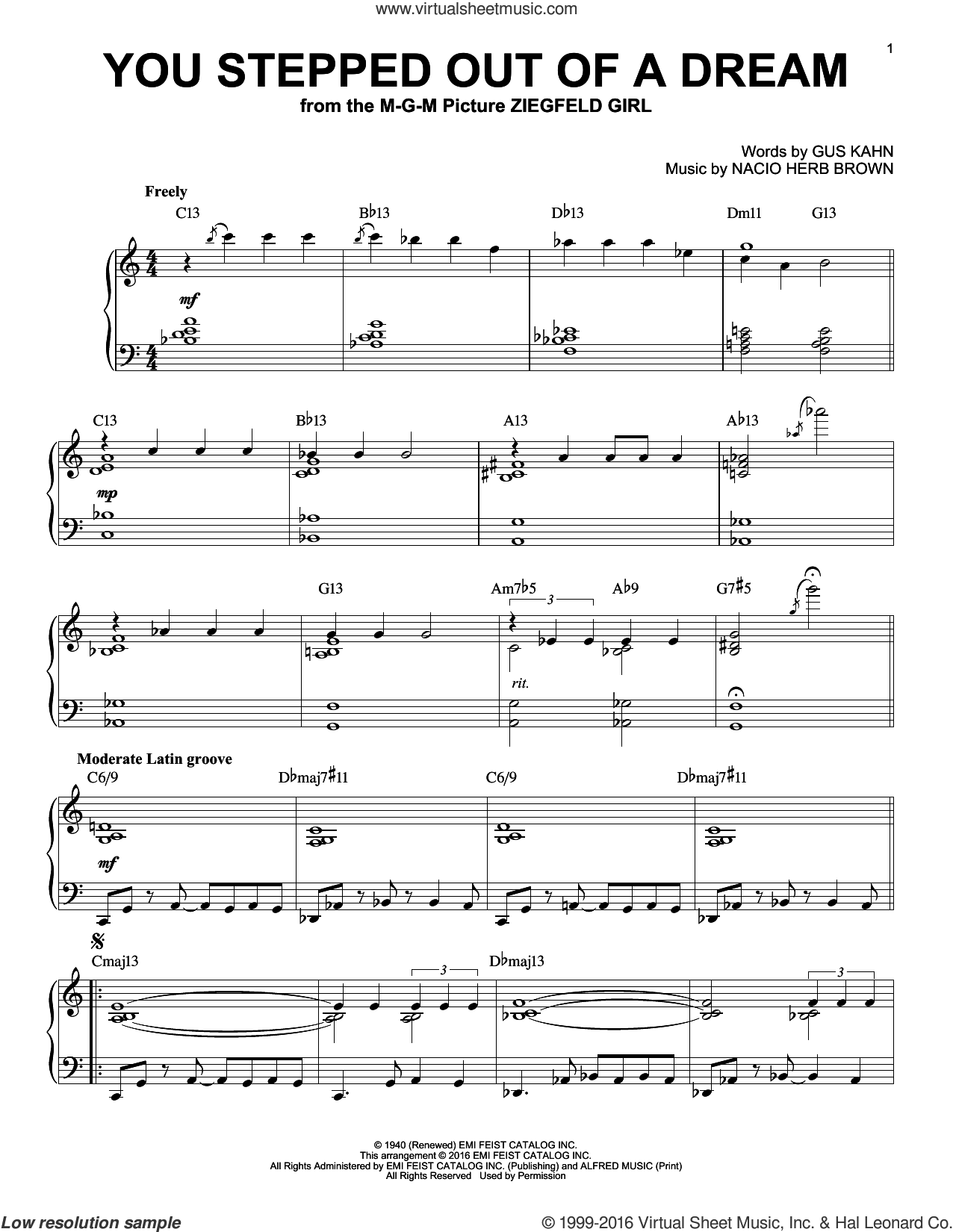 You Stepped Out Of A Dream sheet music for piano solo by Nacio Herb Brown and Gus Kahn, intermediate skill level