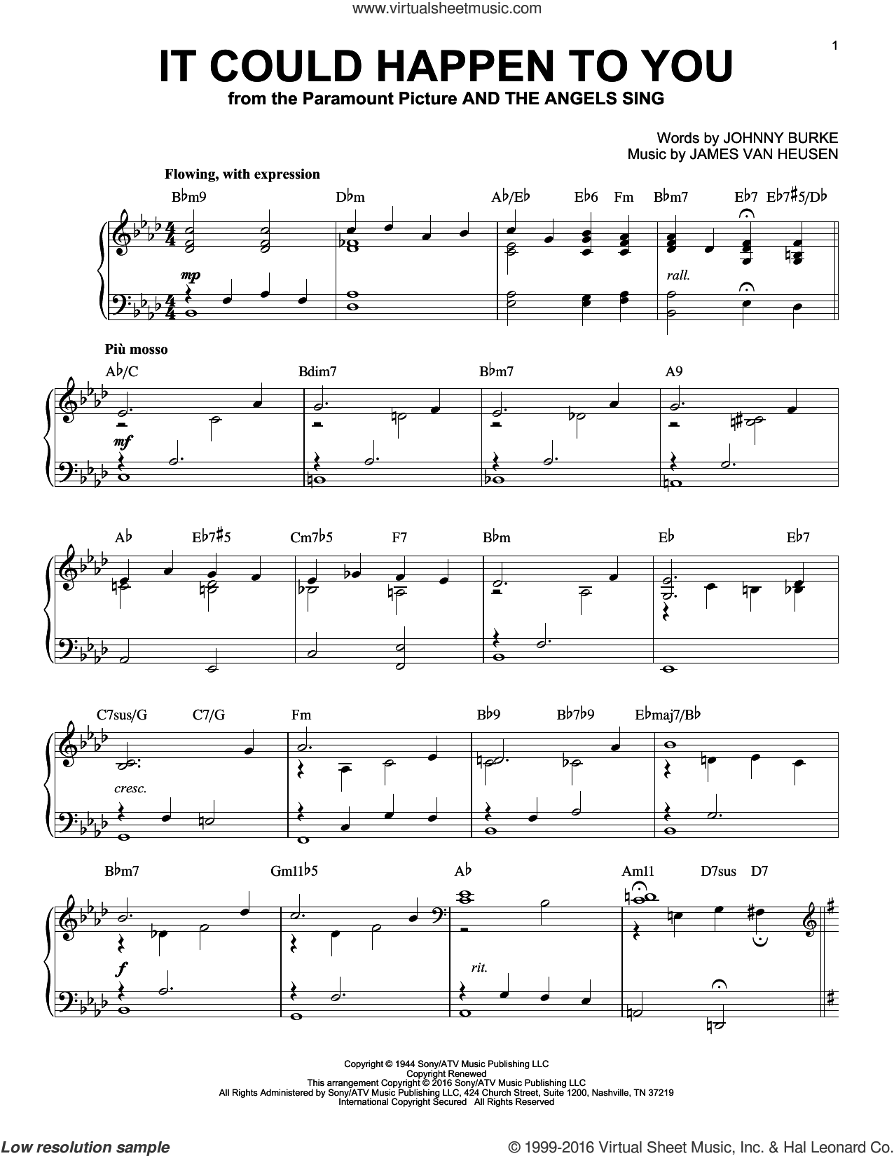 It Could Happen To You sheet music for piano solo by June Christy, Jimmy van Heusen and John Burke, intermediate skill level