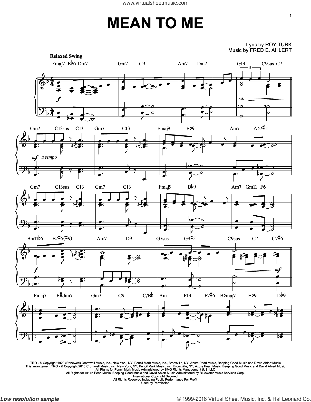 Mean To Me sheet music for piano solo by Roy Turk and Fred Ahlert, intermediate skill level