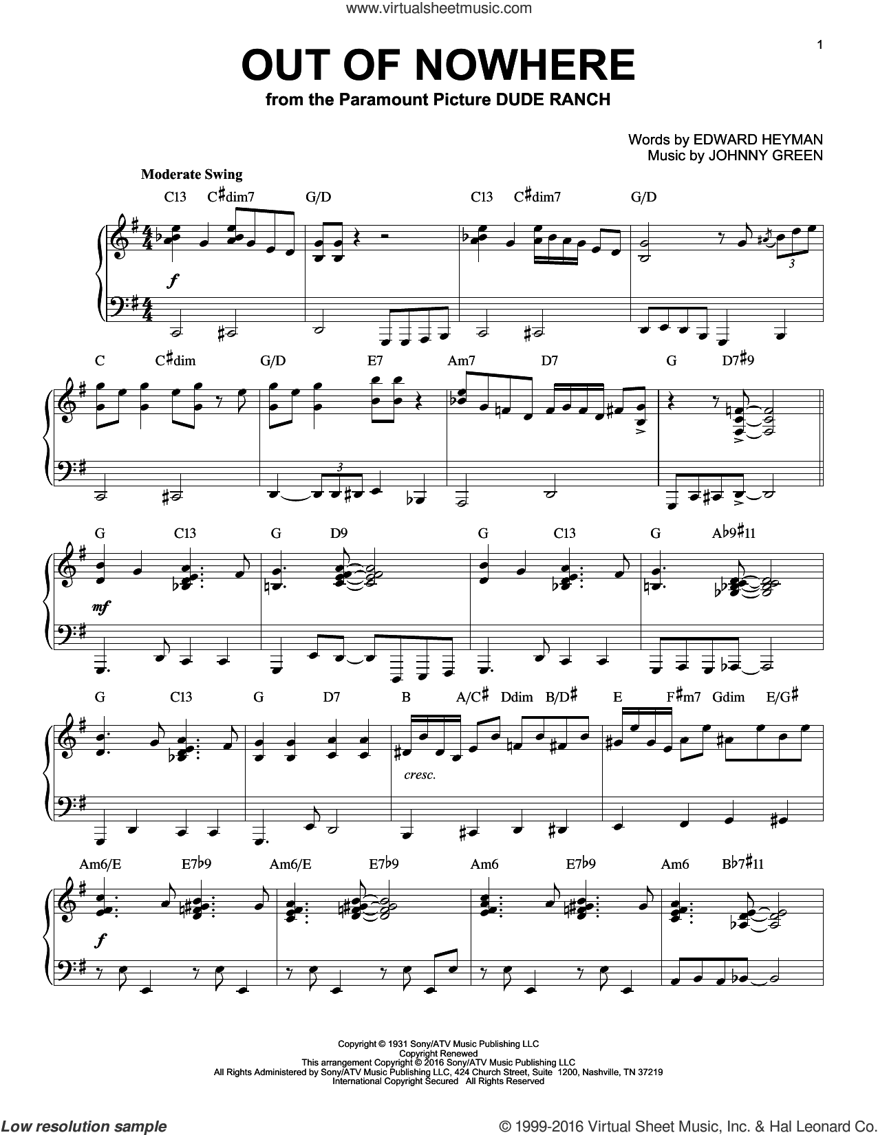 Out Of Nowhere sheet music for piano solo by Edward Heyman, Buddy DeFranco and Johnny Green, intermediate skill level