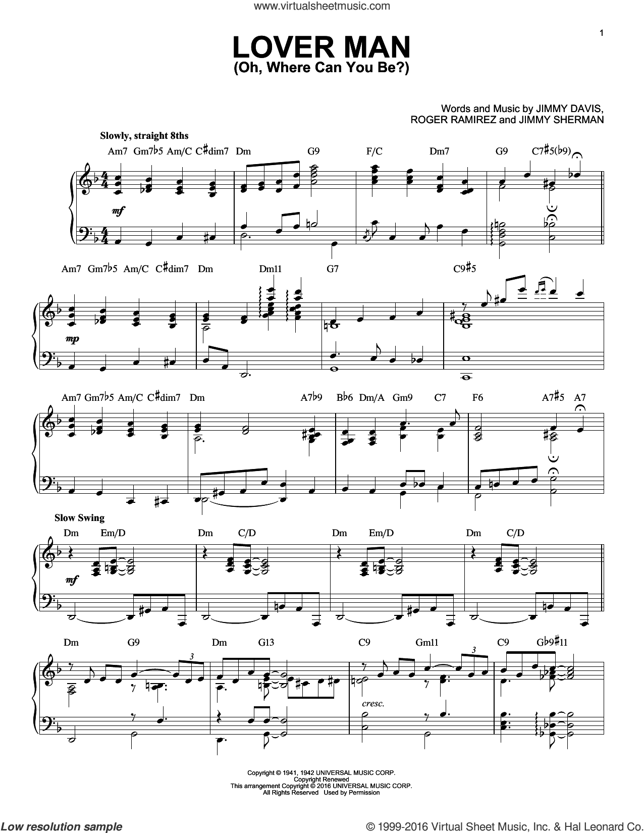 Lover Man (Oh, Where Can You Be?) sheet music for piano solo by Billie Holiday and Jimmie Davis, intermediate. Score Image Preview.