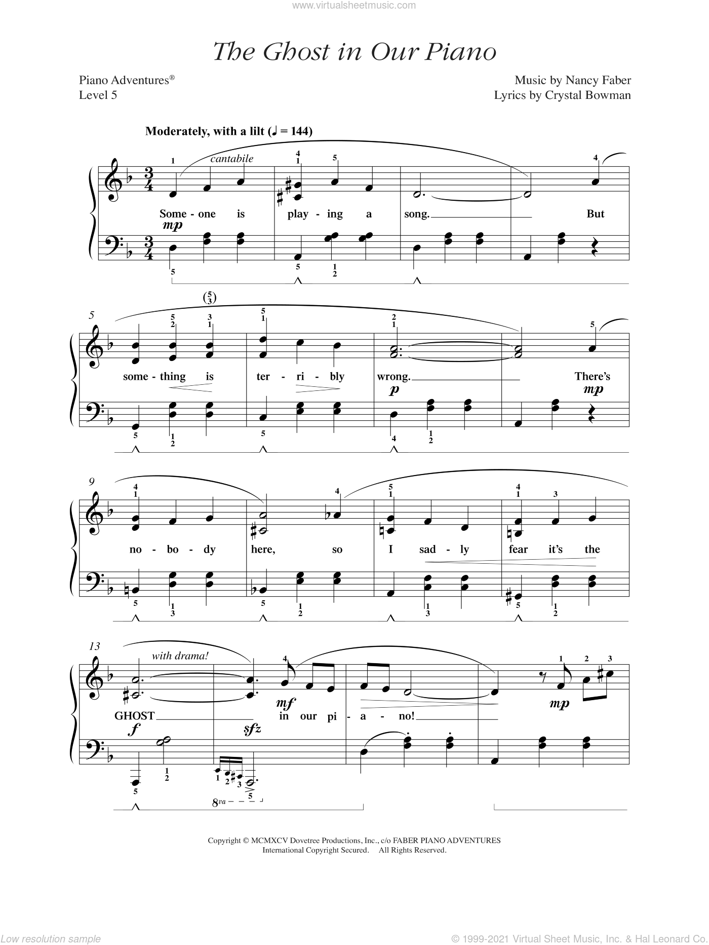 The Ghost in Our Piano sheet music for piano solo by Nancy Faber and Crystal Bowman, intermediate/advanced skill level