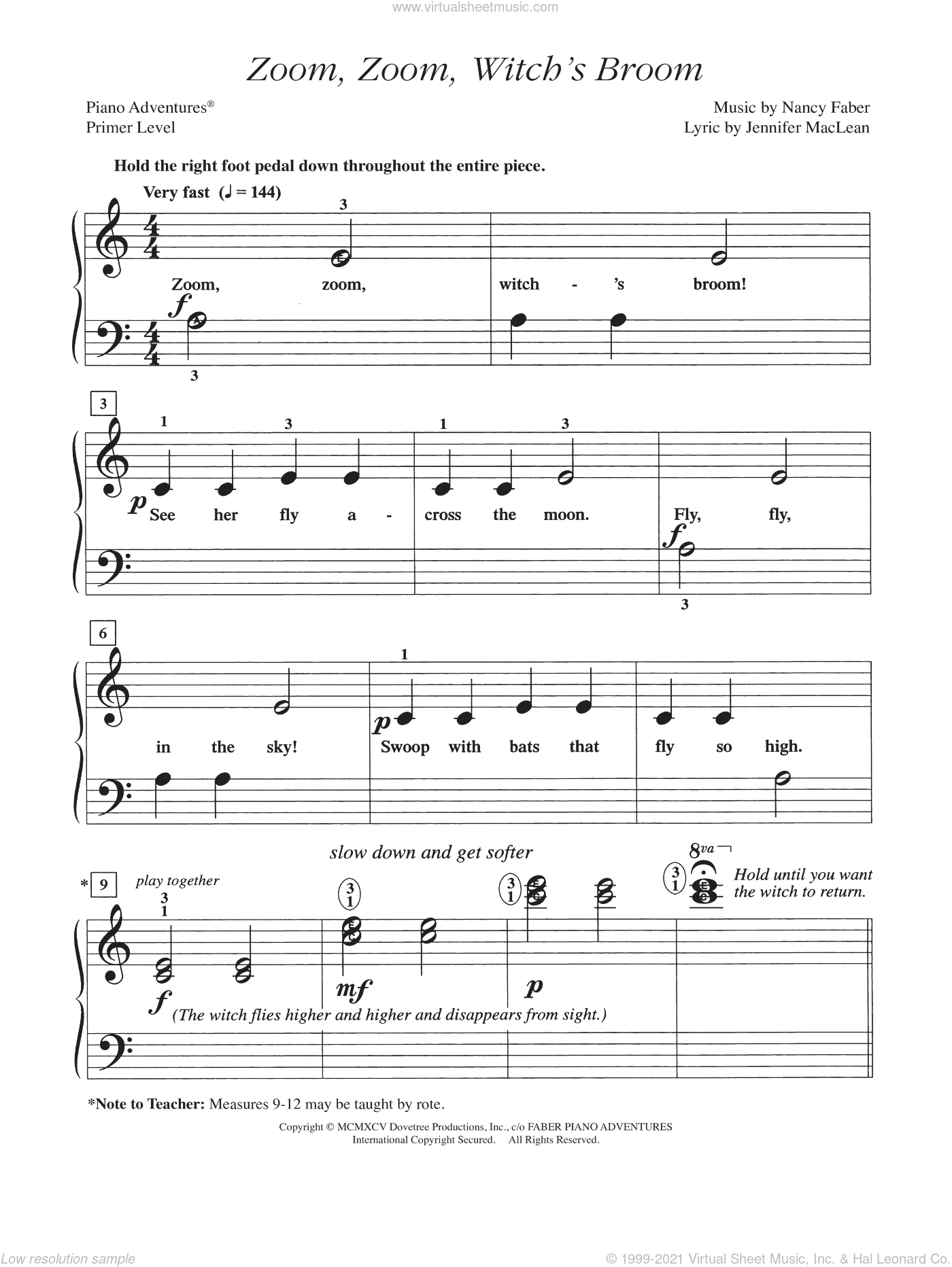 Zoom, Zoom, Witch's Broom sheet music for piano solo by Jennifer MacLean and Nancy Faber. Score Image Preview.
