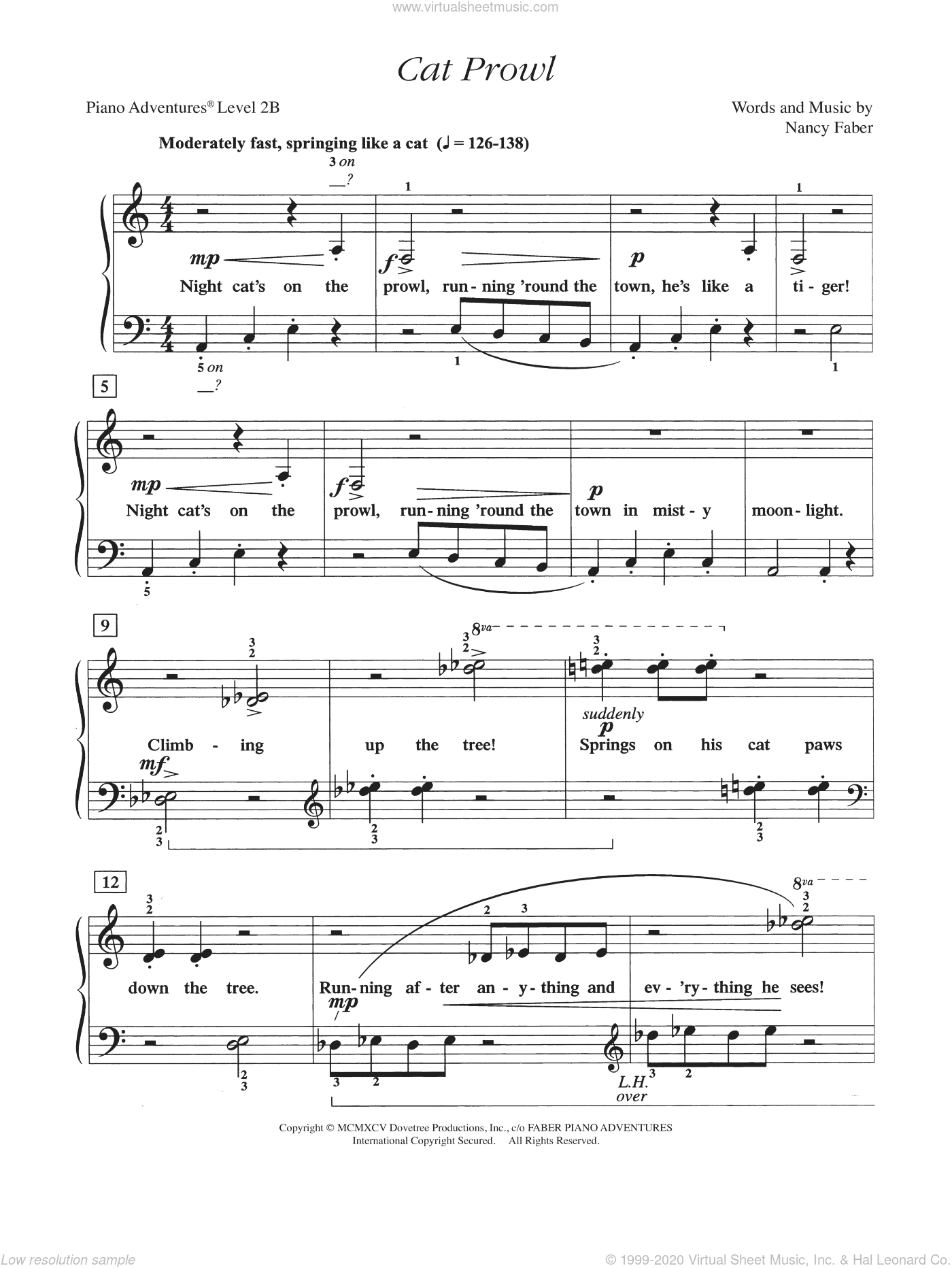 Cat Prowl sheet music for piano solo by Nancy Faber, intermediate/advanced skill level
