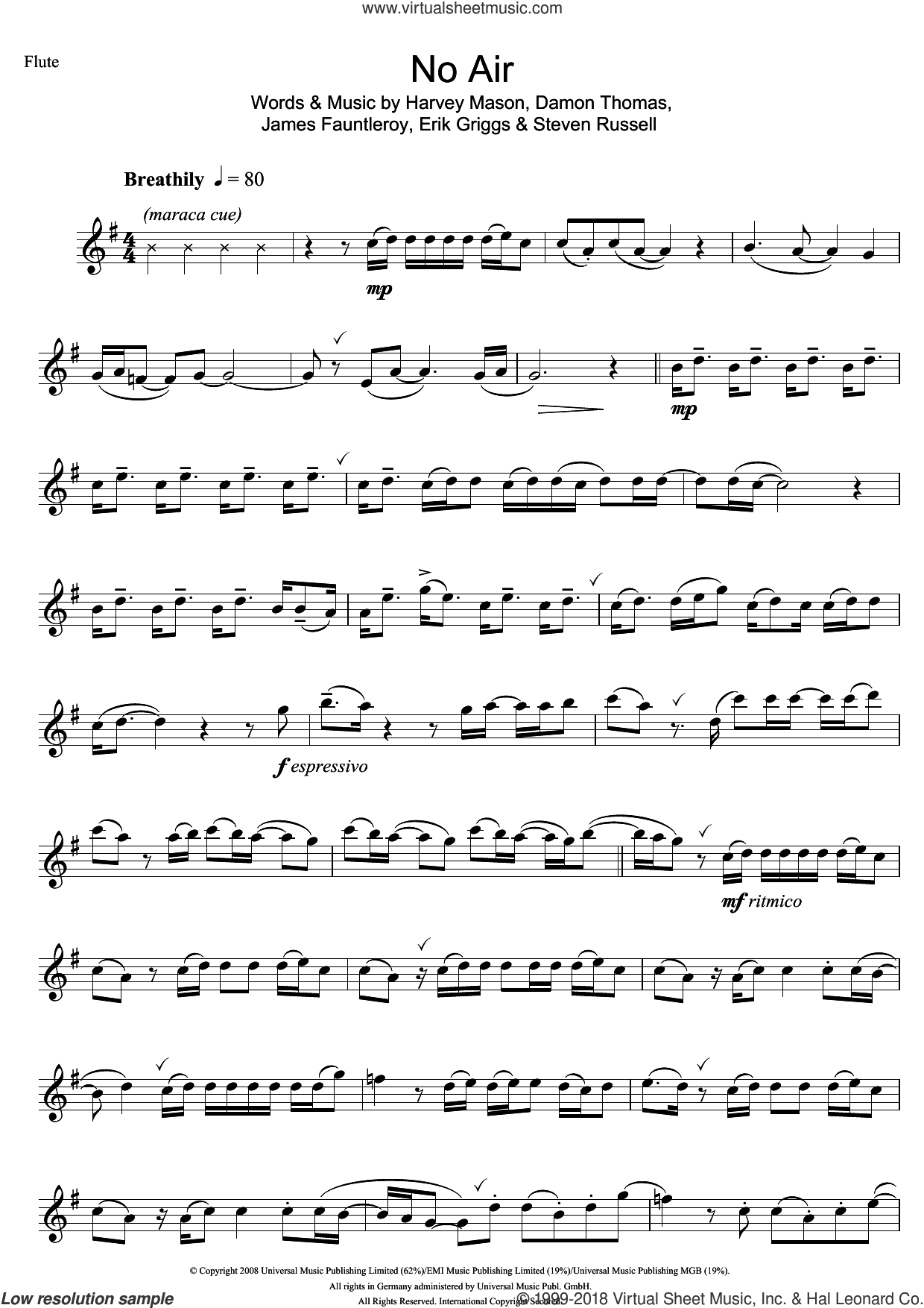 No Air sheet music for flute solo by Jordin Sparks and James Fauntleroy. Score Image Preview.