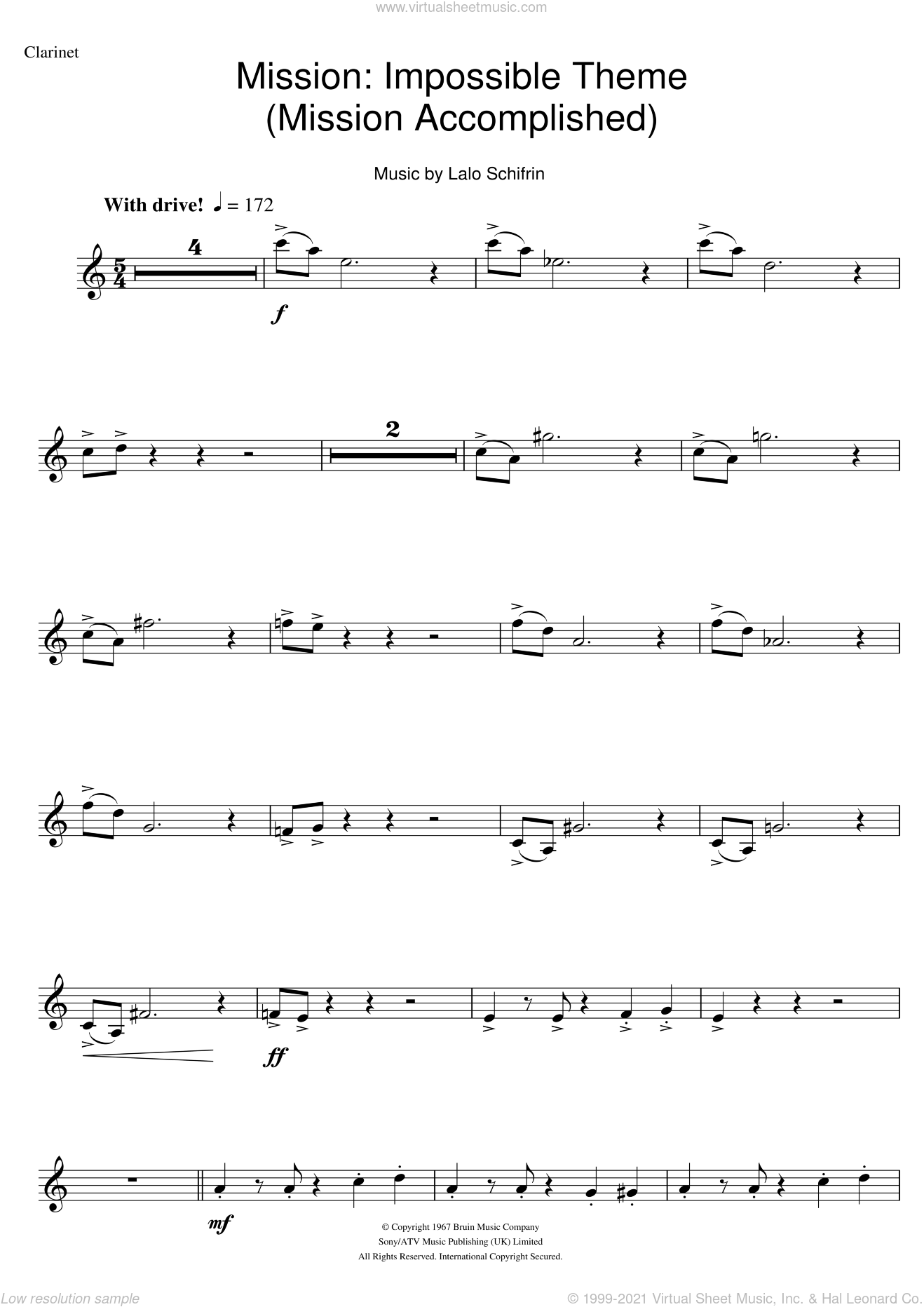 Mission: Impossible Theme (Mission Accomplished) sheet music for clarinet solo by Lalo Schifrin and Fed Milano, intermediate skill level