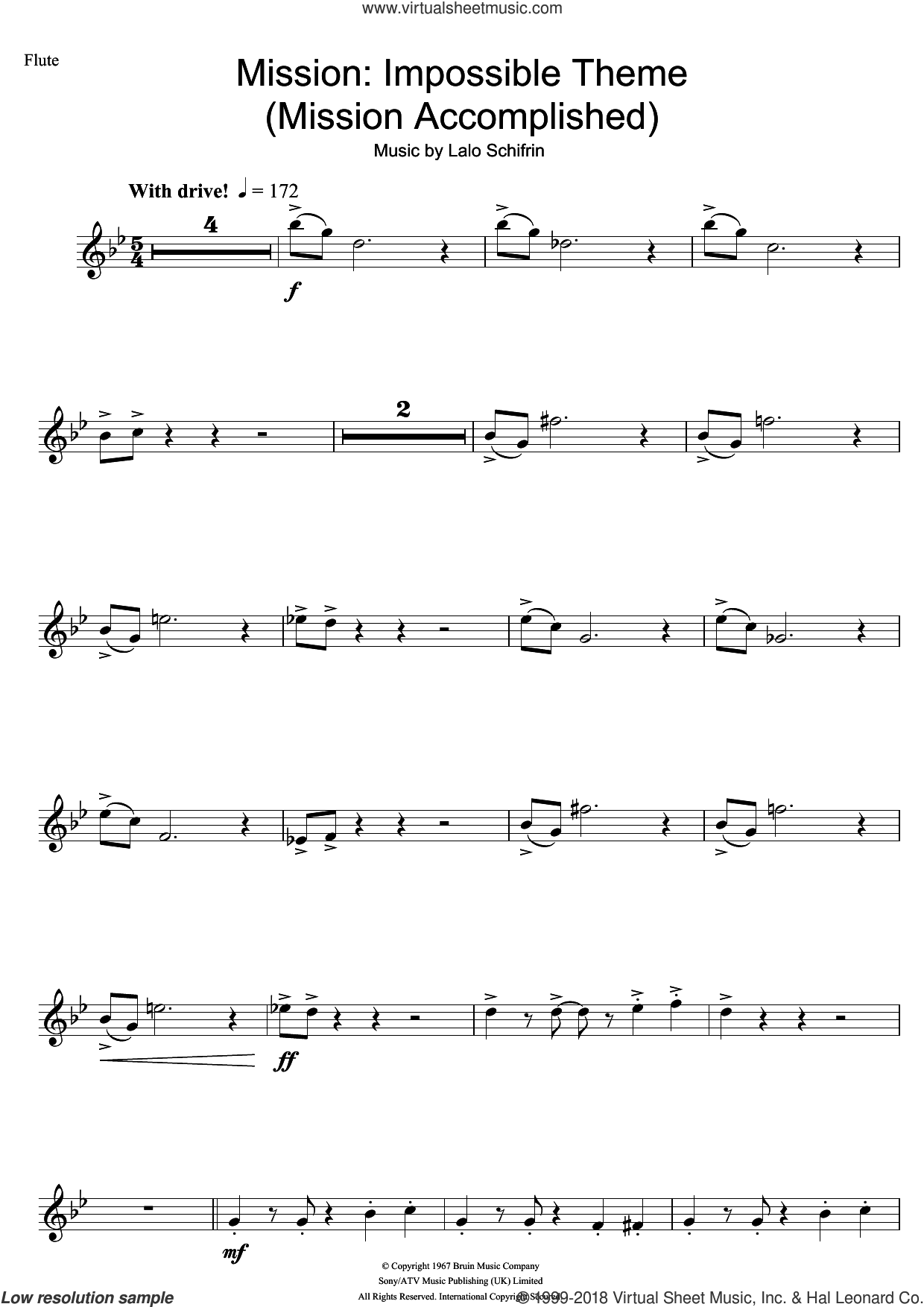 Mission: Impossible Theme (Mission Accomplished) sheet music for flute solo by Lalo Schifrin and Fed Milano, intermediate skill level