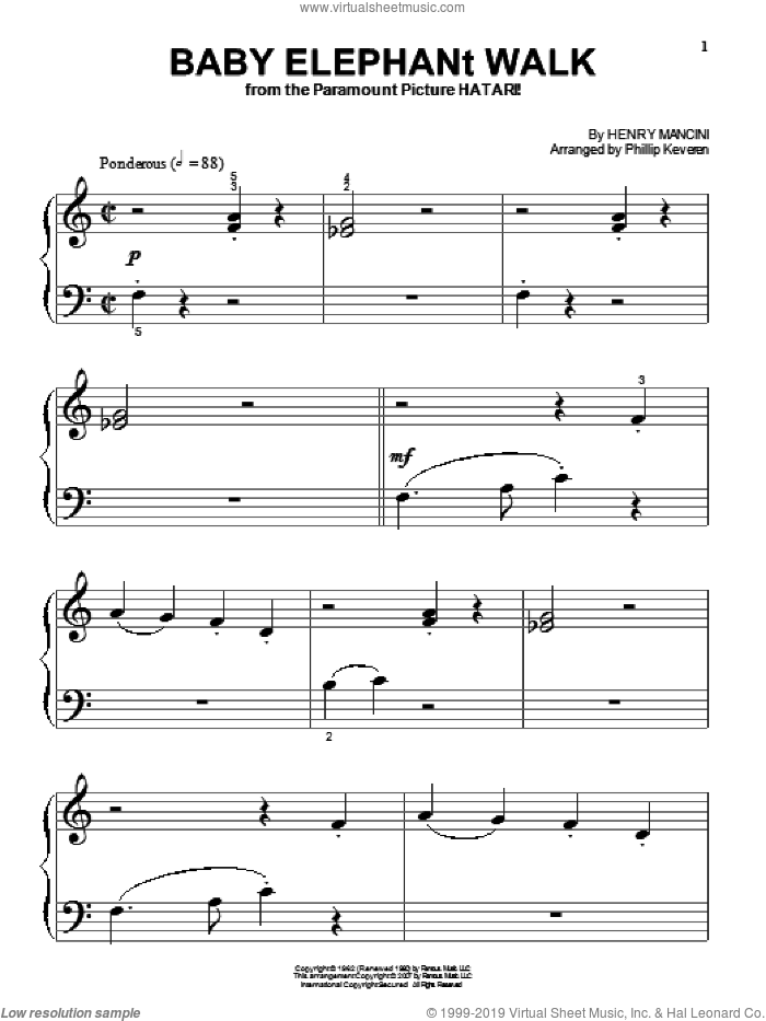 Baby Elephant Walk sheet music for piano solo (big note book) by Henry Mancini, Phillip Keveren and Hal David, easy piano (big note book). Score Image Preview.