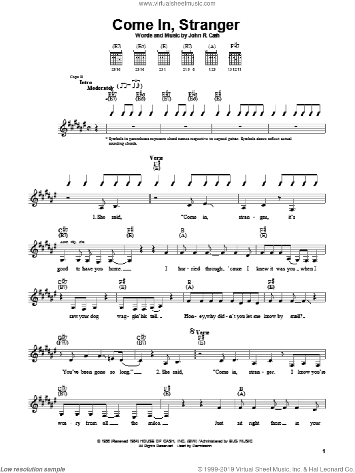 Come In, Stranger sheet music for guitar solo (chords) by Johnny Cash. Score Image Preview.