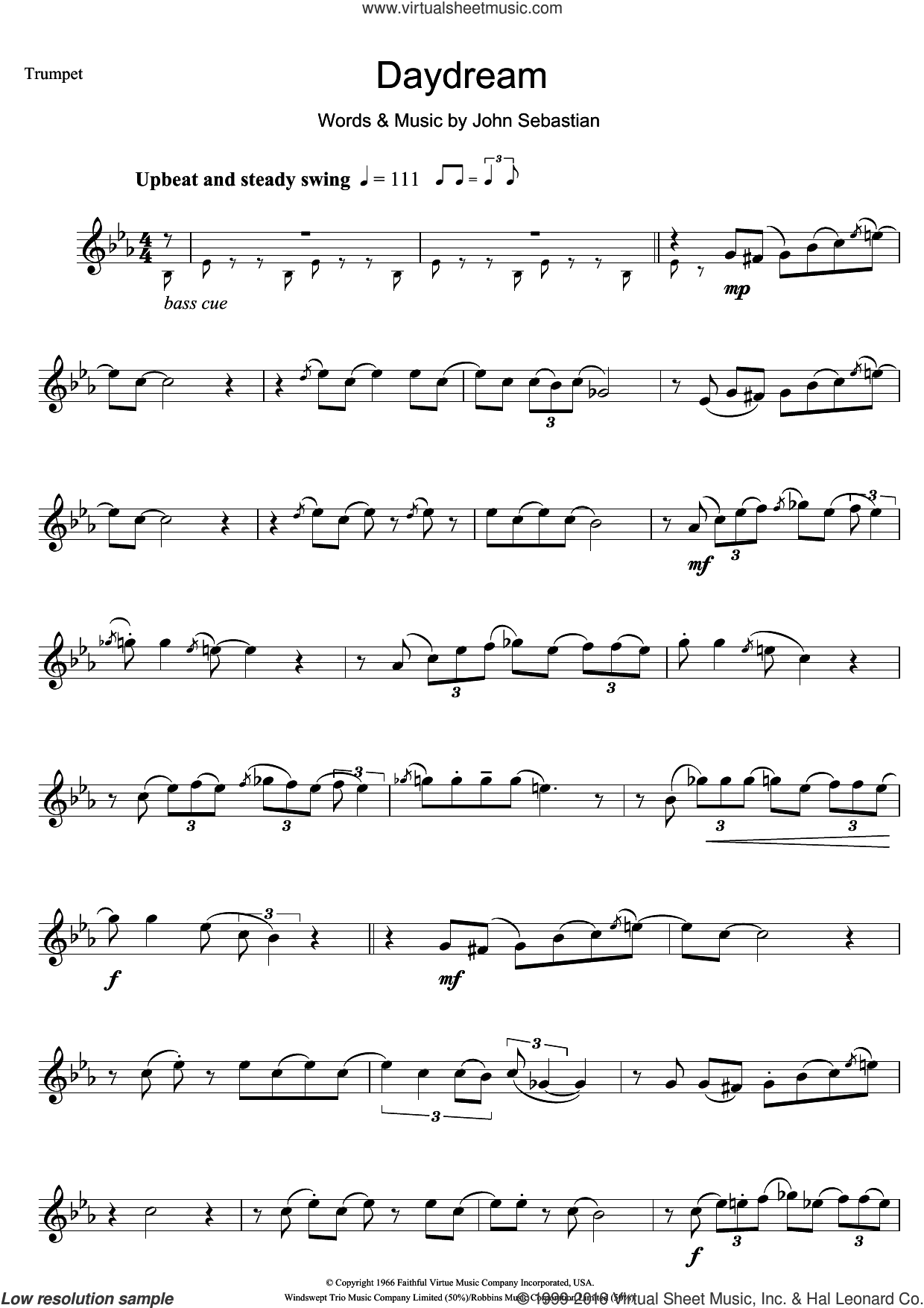 Daydream sheet music for trumpet solo by The Lovin' Spoonful and John Sebastian, intermediate