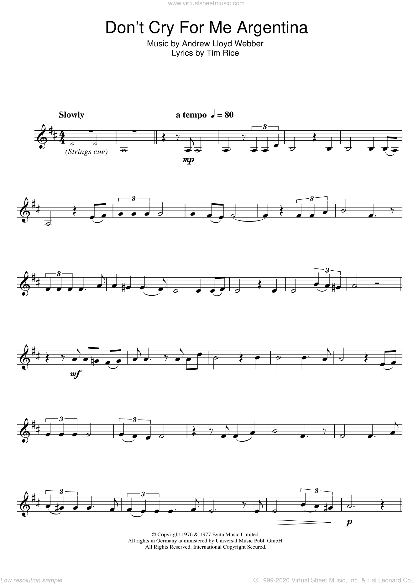 Don't Cry For Me Argentina (from Evita) sheet music for clarinet solo by Madonna, Andrew Lloyd Webber and Tim Rice, intermediate. Score Image Preview.