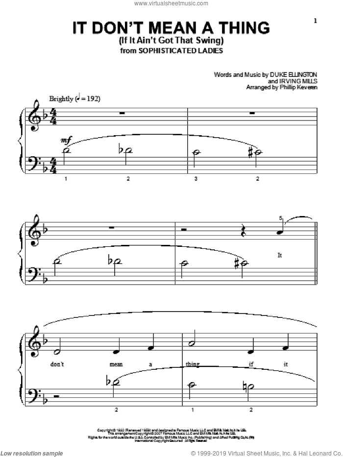 It Don't Mean A Thing (If It Ain't Got That Swing) sheet music for piano solo (big note book) by Duke Ellington, Phillip Keveren and Irving Mills, easy piano (big note book). Score Image Preview.