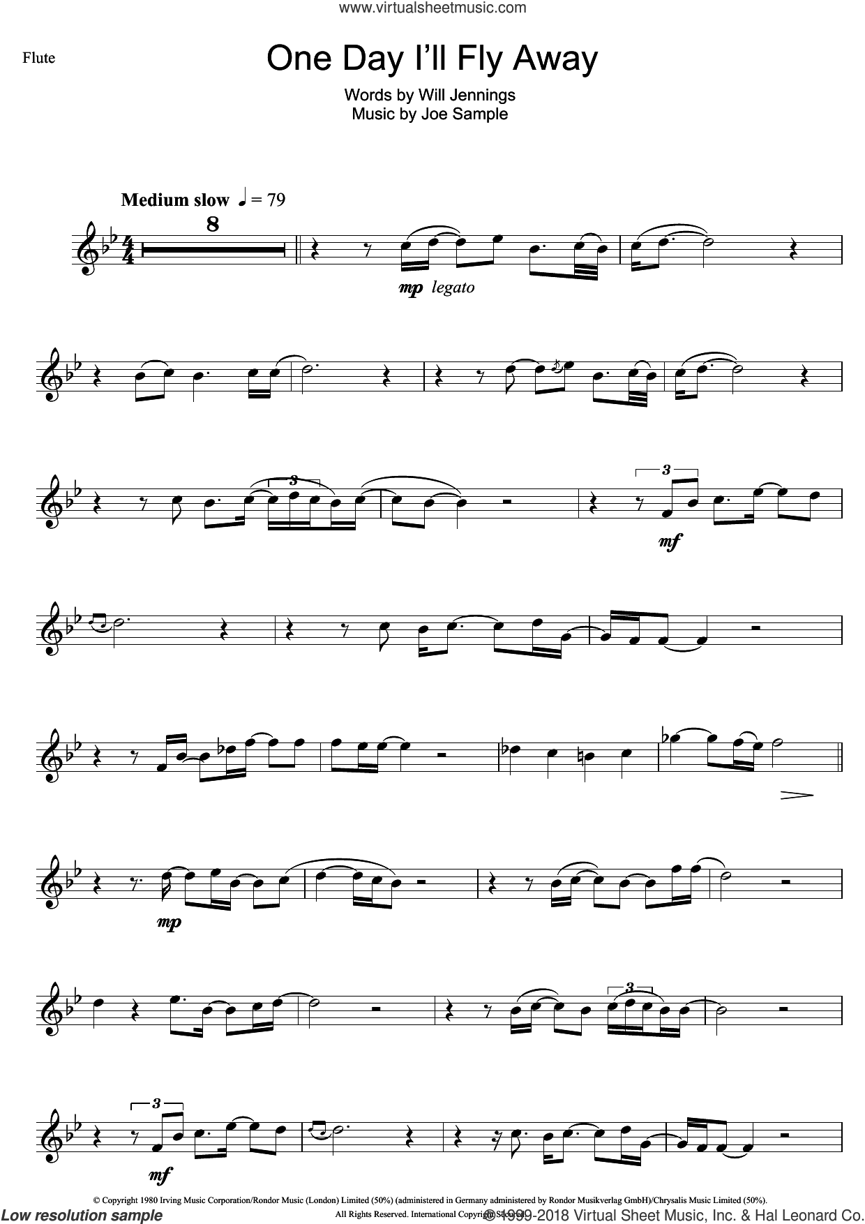 One Day I'll Fly Away sheet music for flute solo by Randy Crawford, Nicole Kidman, Joe Sample and Will Jennings, intermediate skill level