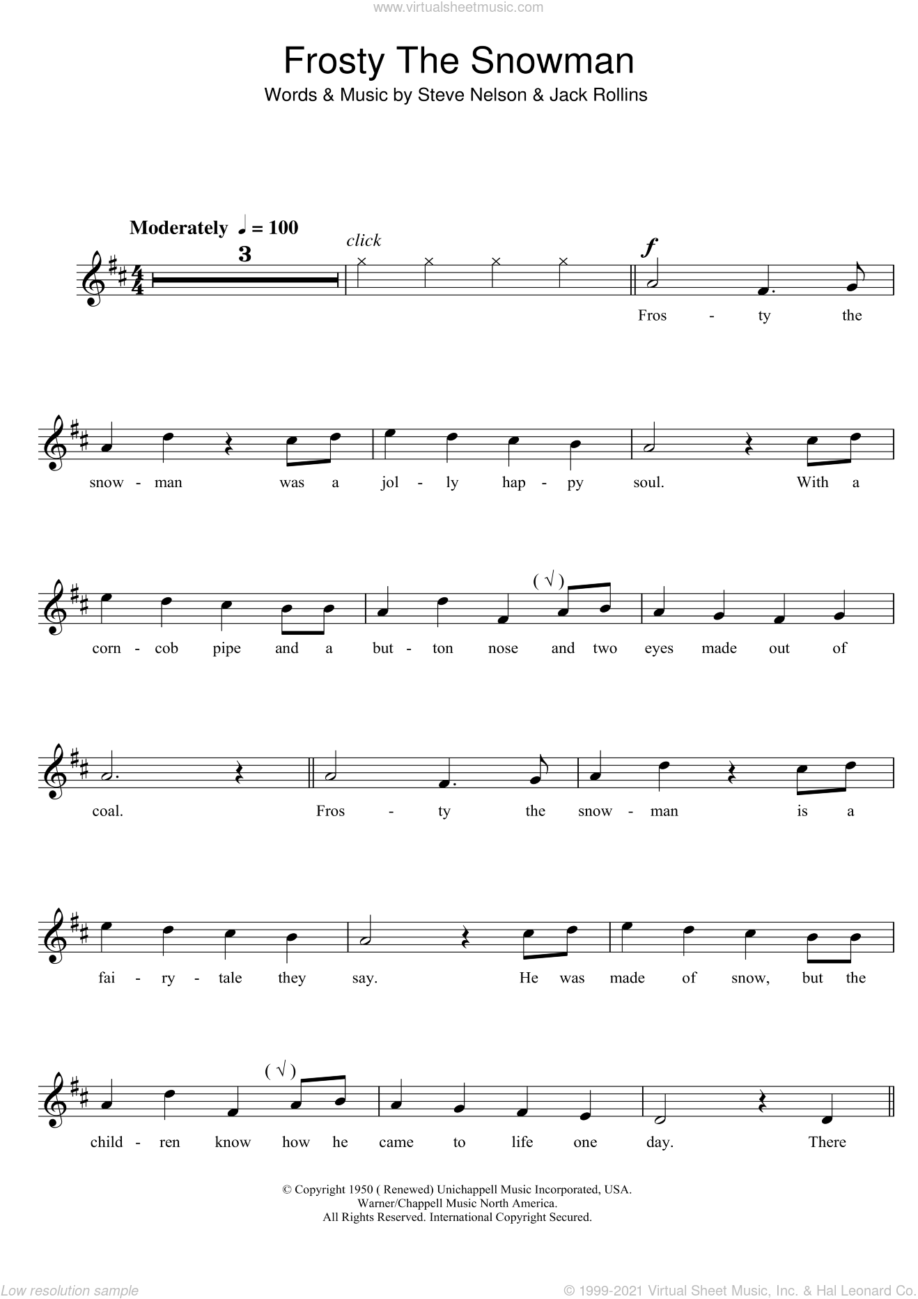 Frosty The Snowman sheet music for clarinet solo by The Ronettes, Jack Rollins and Steve Nelson, Christmas carol score, intermediate clarinet. Score Image Preview.