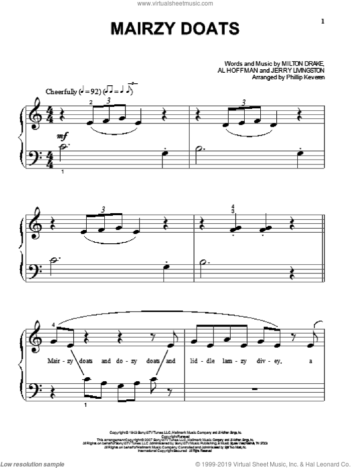 Mairzy Doats sheet music for piano solo (big note book) by Milton Drake, Phillip Keveren, Al Hoffman and Jerry Livingston. Score Image Preview.