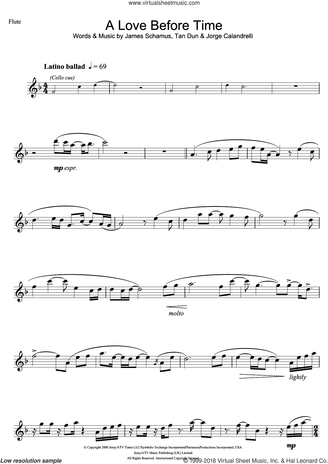 A Love Before Time sheet music for flute solo by Coco Lee, James Schamus and Tan Dun, intermediate flute. Score Image Preview.