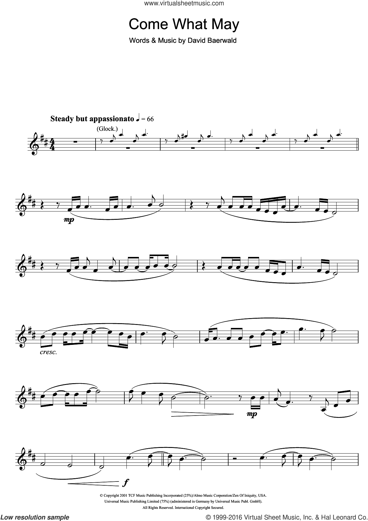 Come What May (from Moulin Rouge) sheet music for clarinet solo by David Baerwald, Ewan McGregor and Nicole Kidman, intermediate skill level