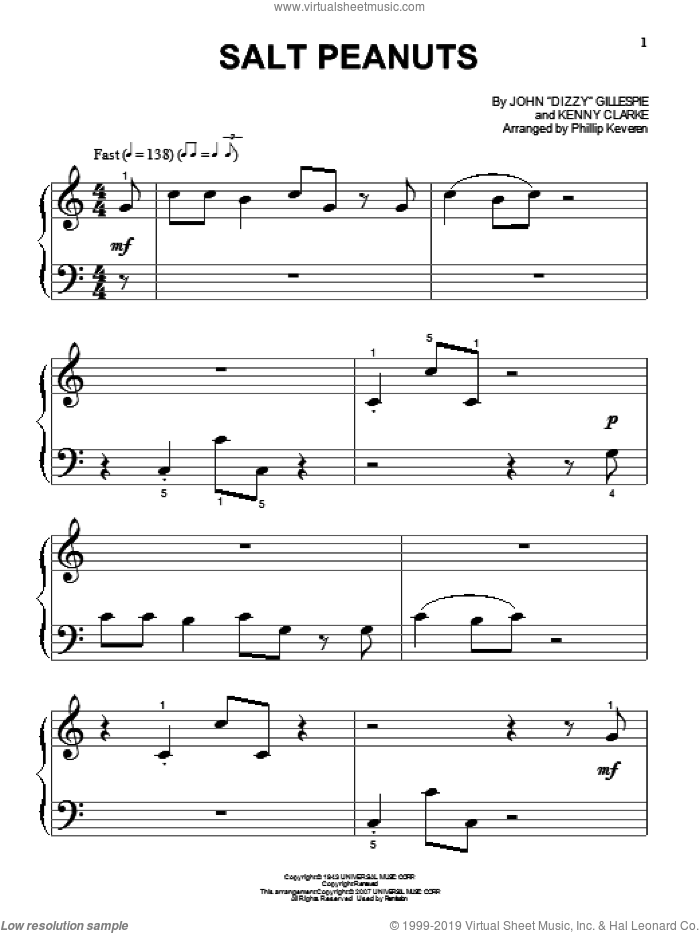 Salt Peanuts sheet music for piano solo (big note book) by Kenny Clarke, Phillip Keveren and Dizzy Gillespie. Score Image Preview.