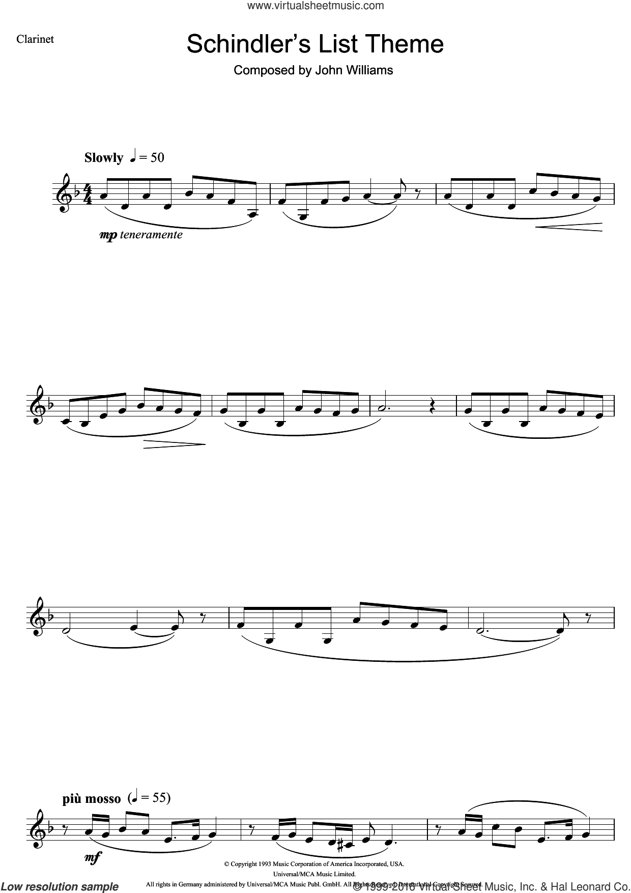 Schindler's List sheet music for clarinet solo by John Williams, intermediate skill level