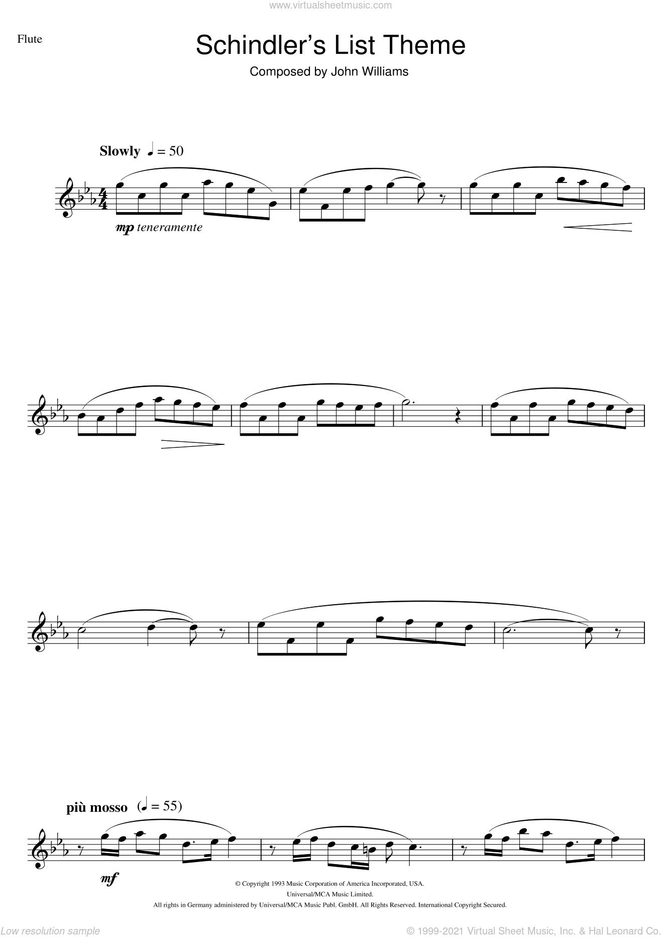 Schindler's List sheet music for flute solo by John Williams, intermediate skill level