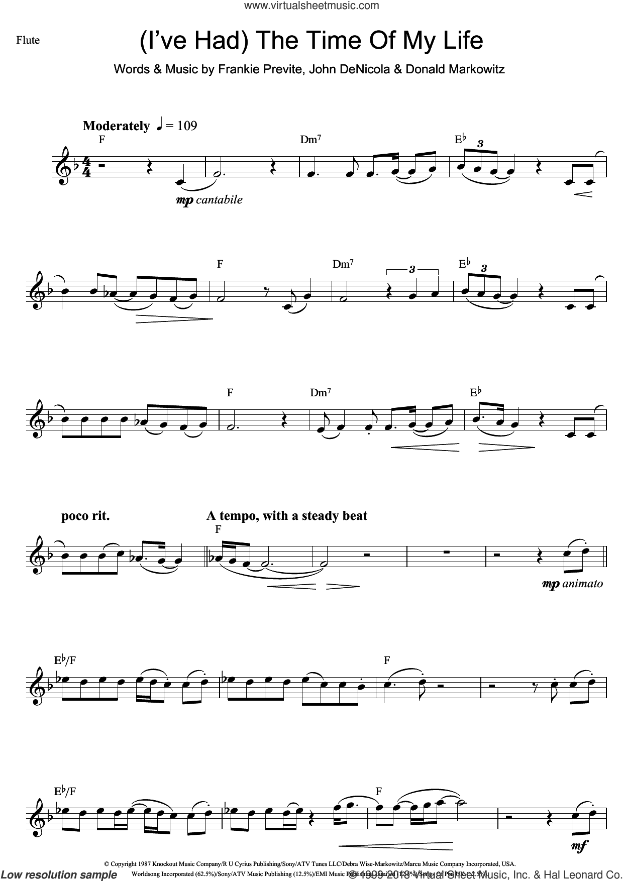 (I've Had) The Time Of My Life sheet music for flute solo by Bill Medley, Jennifer Warnes, Donald Markowitz, Frankie Previte and John DeNicola, intermediate skill level