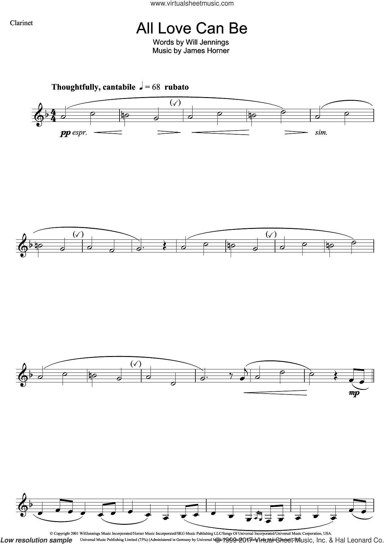 All Love Can Be (from A Beautiful Mind) sheet music for clarinet solo by James Horner, Charlotte Church and Will Jennings, intermediate skill level