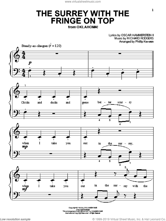 The Surrey With The Fringe On Top (from Oklahoma!) sheet music for piano solo (big note book) by Rodgers & Hammerstein, Phillip Keveren, Oklahoma! (Musical), Oscar II Hammerstein and Richard Rodgers, easy piano (big note book)