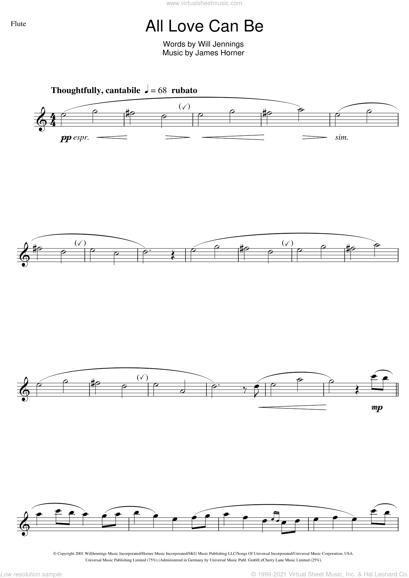 Horner - All Love Can Be (from A Beautiful Mind) sheet music for flute solo