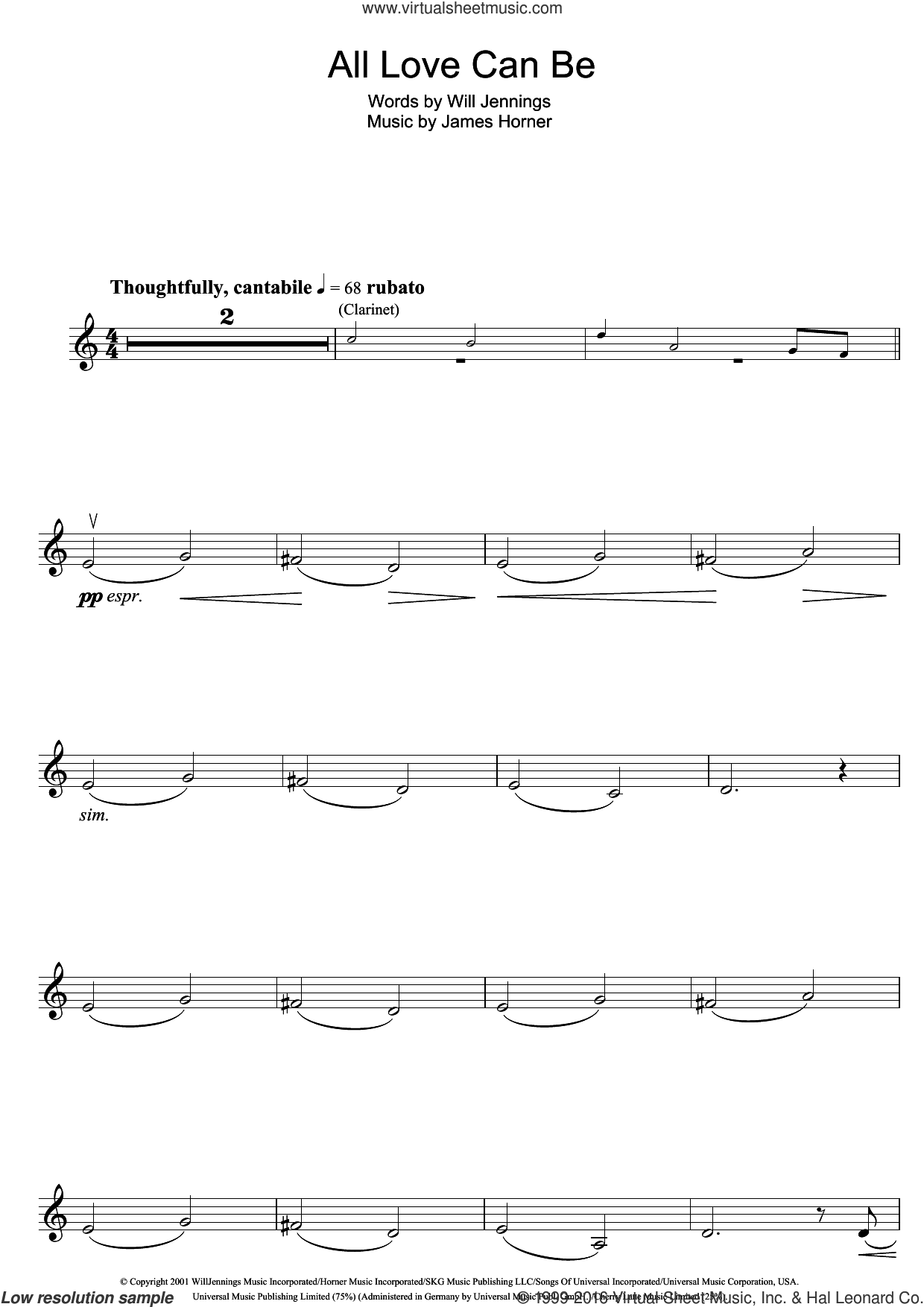 All Love Can Be (from A Beautiful Mind) sheet music for violin solo by James Horner, Charlotte Church and Will Jennings, intermediate skill level