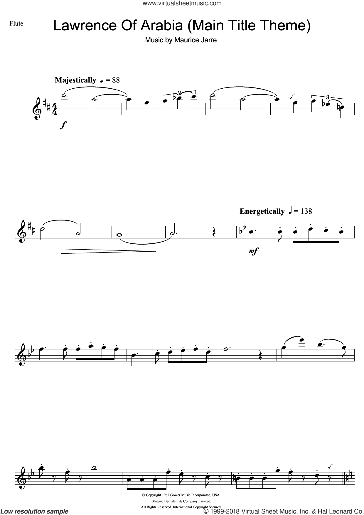 Lawrence Of Arabia (Main Titles) sheet music for flute solo by Maurice Jarre, intermediate flute. Score Image Preview.